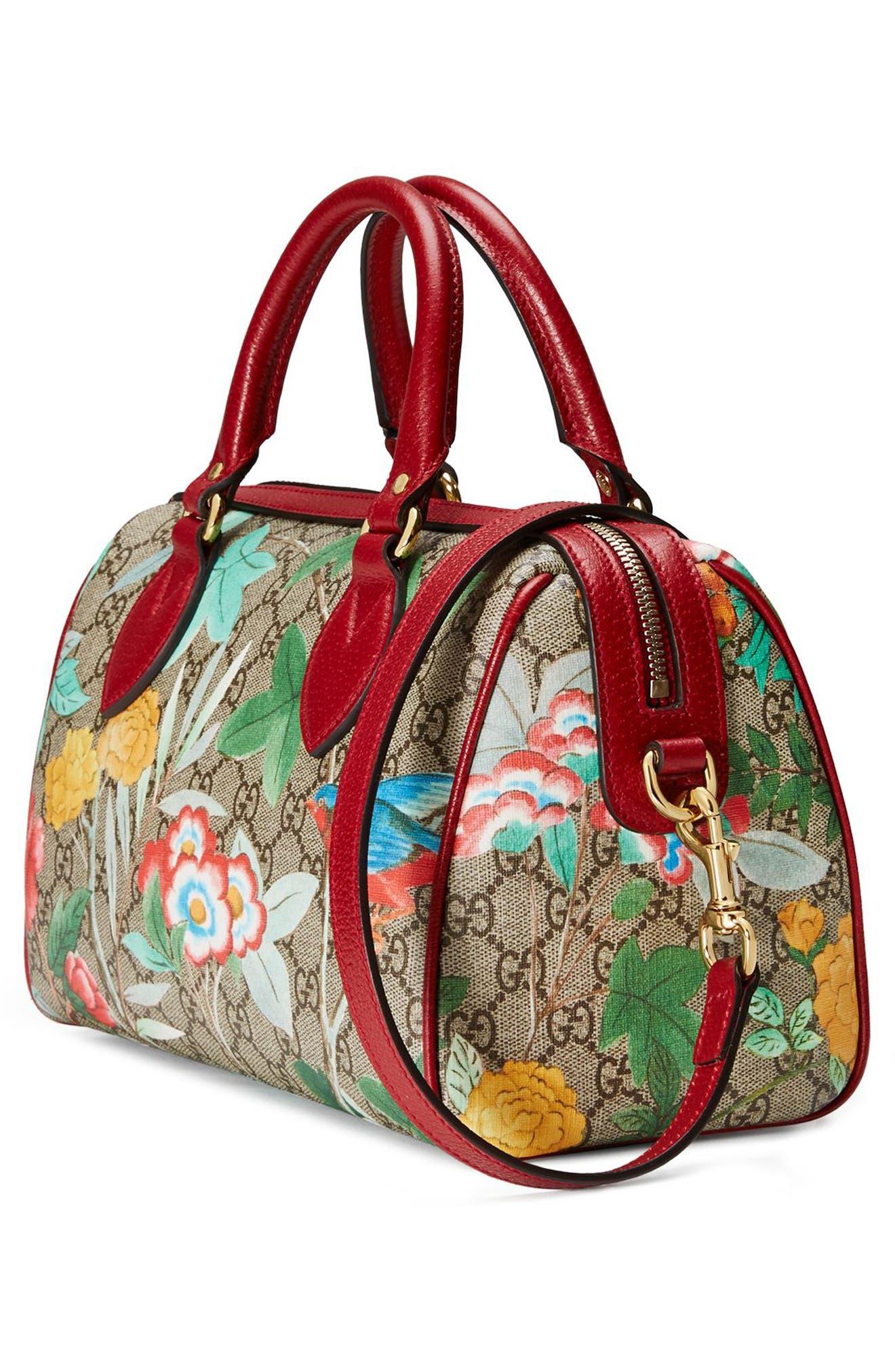 Tian Boston GG Supreme Small Canvas Duffel Bag,                             Alternate thumbnail 4, color,