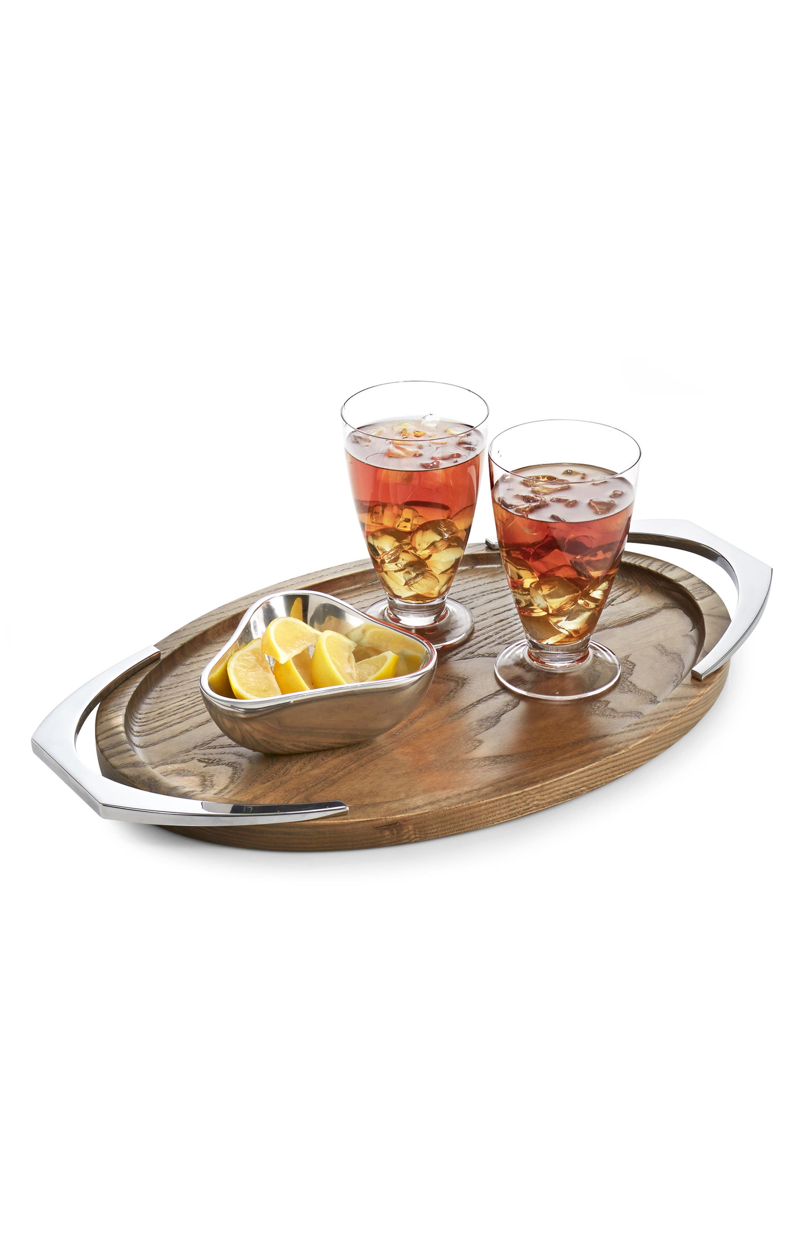 NAMBÉ,                             Cabo Oval Handle Tray,                             Alternate thumbnail 2, color,                             BROWN