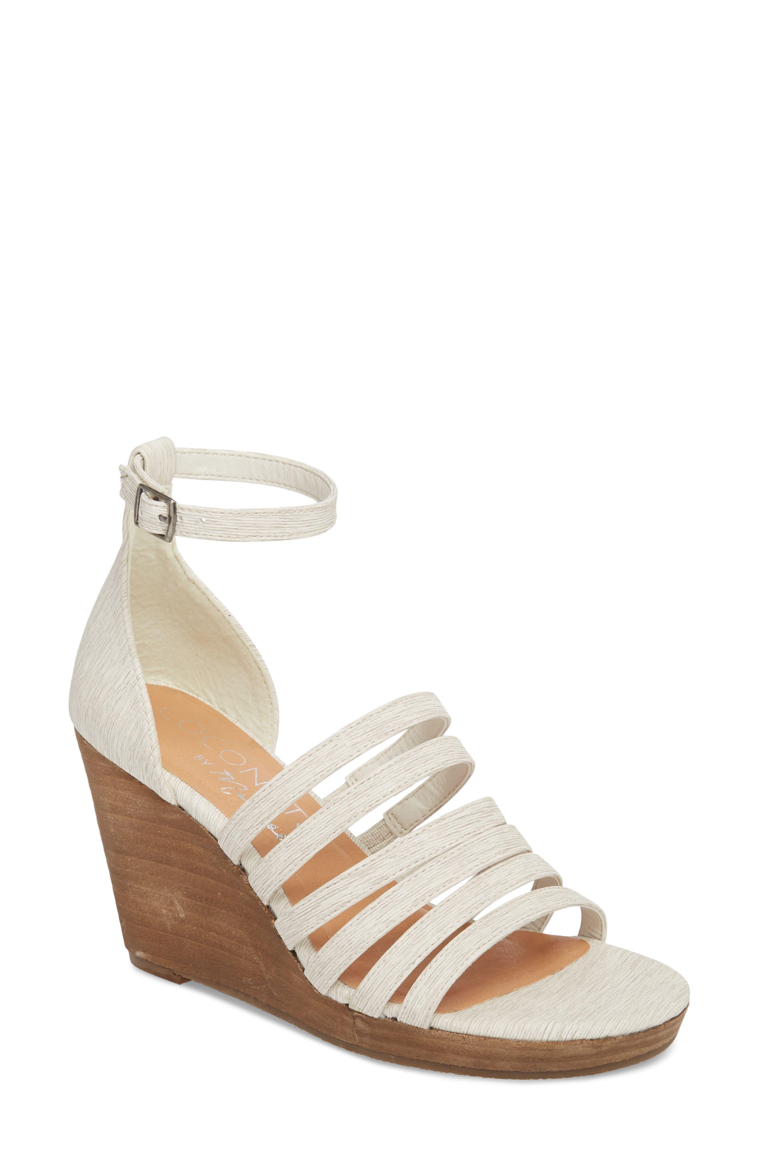 Kiera Wedge Sandal,                             Main thumbnail 1, color,                             NATURAL FABRIC