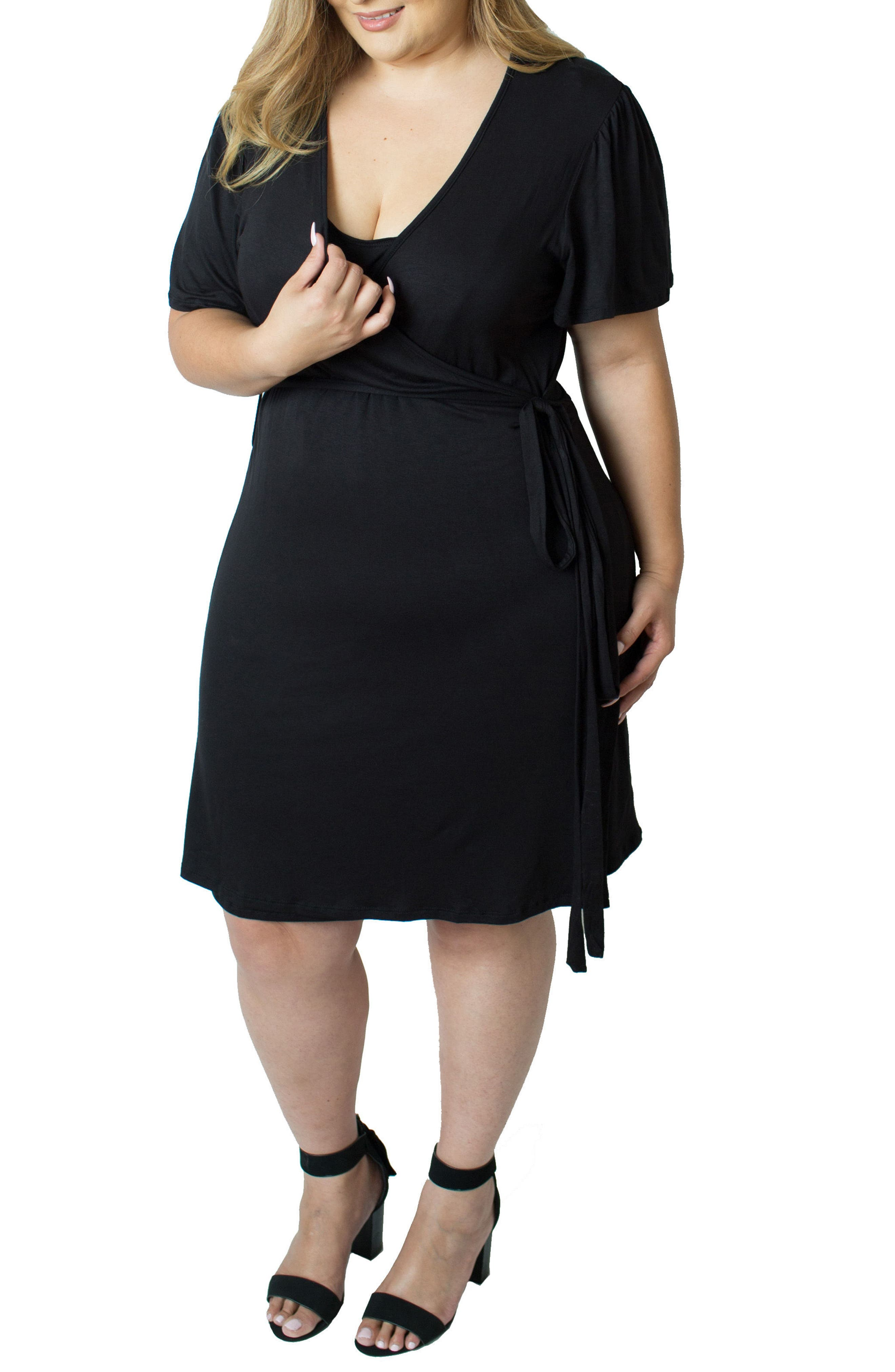 Wrap Nursing Dress,                             Alternate thumbnail 3, color,                             BLACK