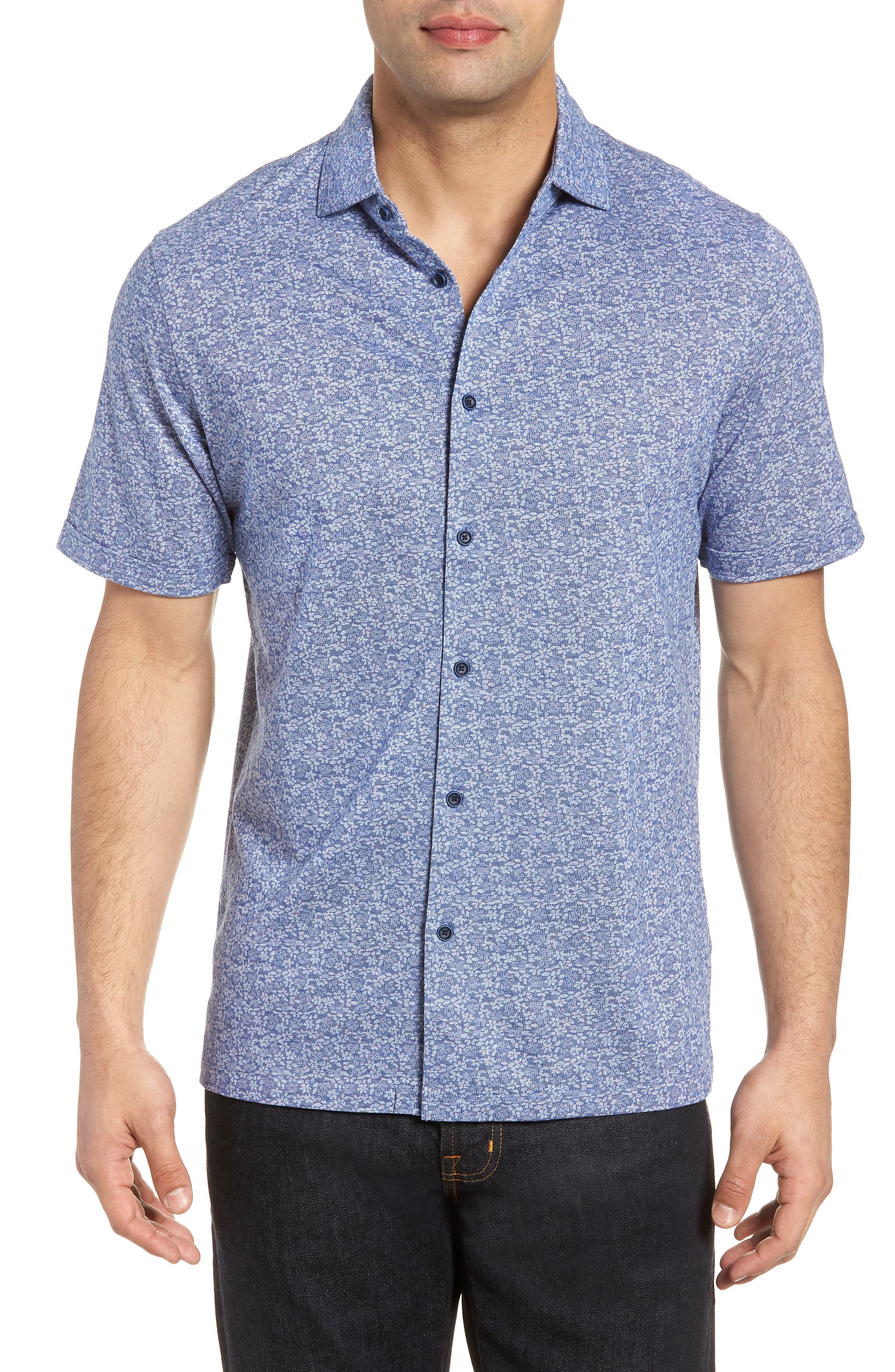 Classic Fit Knit Sport Shirt,                         Main,                         color, NAVY