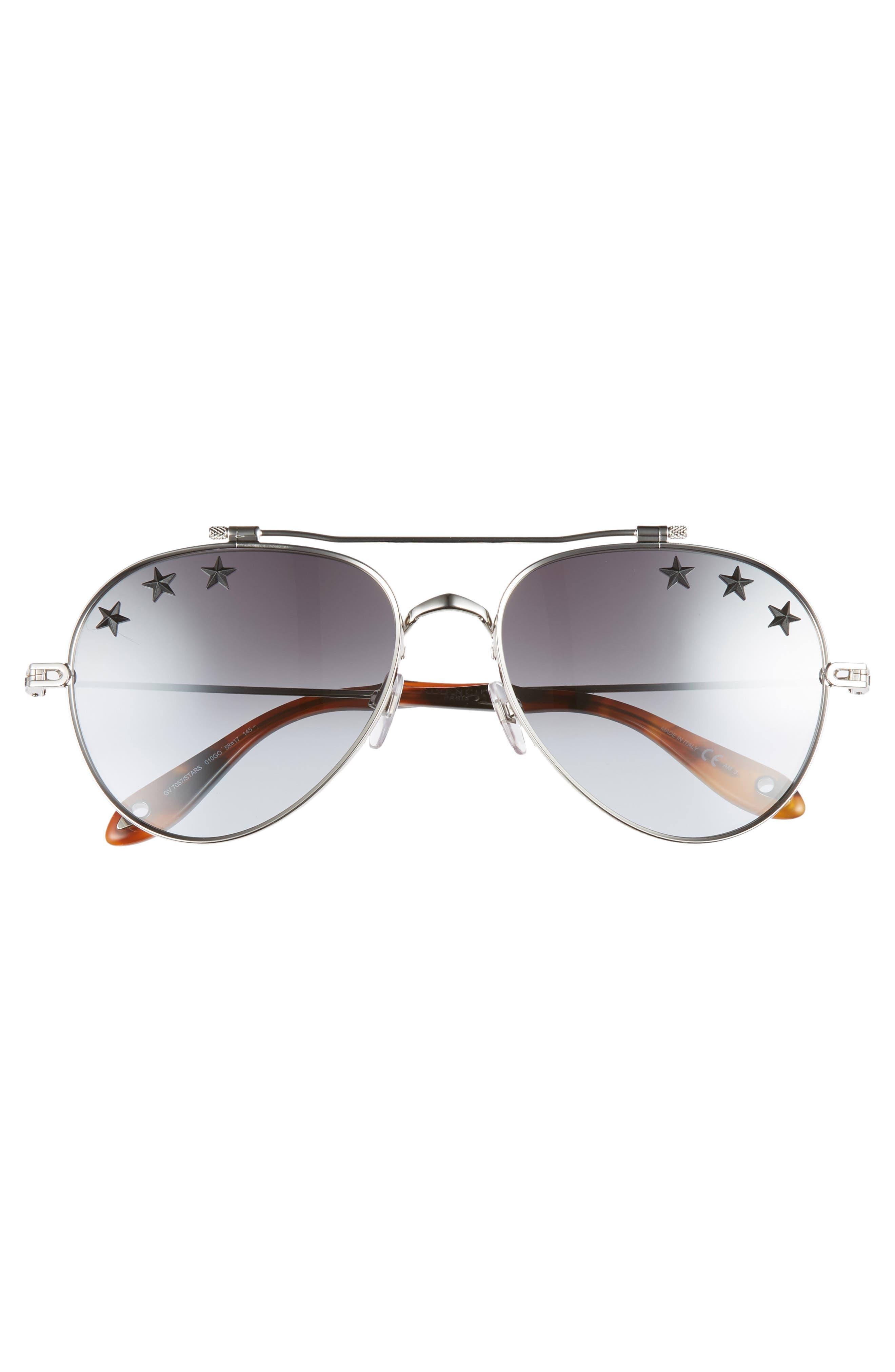 Star Detail 58mm Mirrored Aviator Sunglasses,                             Alternate thumbnail 3, color,                             PALLADIUM/ GREY AZURE