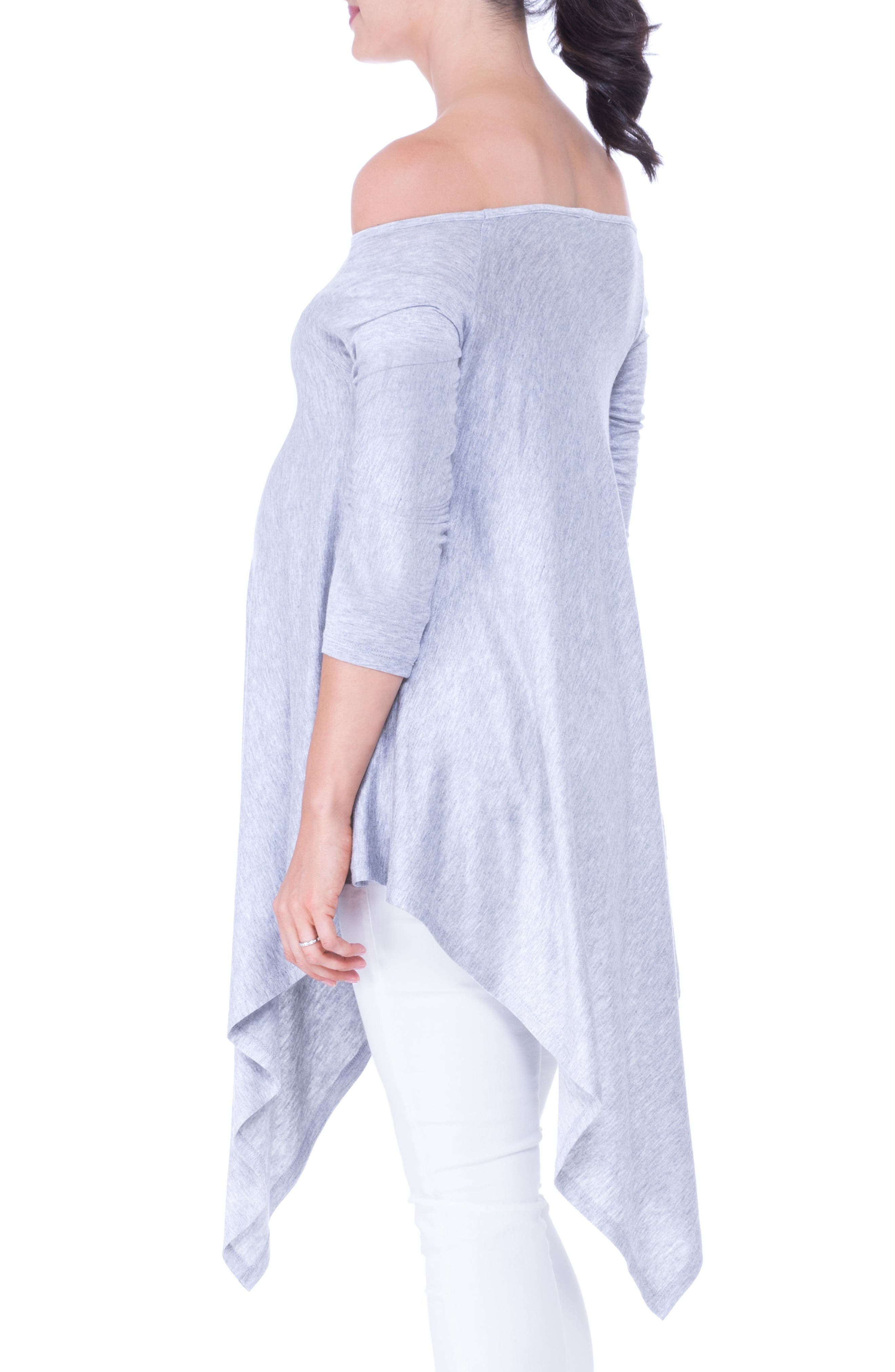 Off the Shoulder Maternity Tunic,                             Alternate thumbnail 4, color,                             HEATHER GREY