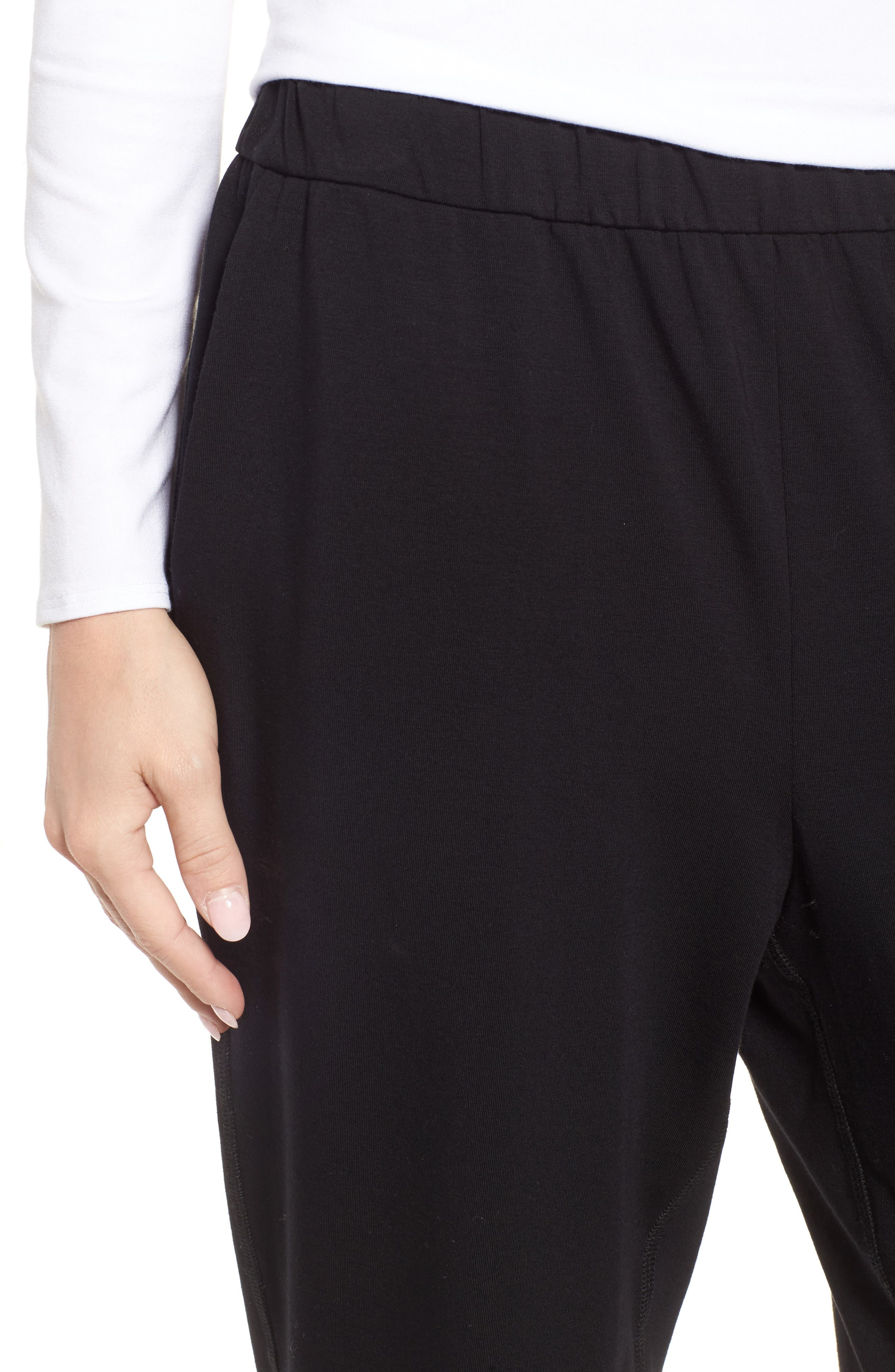 Stretch Organic Cotton Crop Pants,                             Alternate thumbnail 4, color,                             001