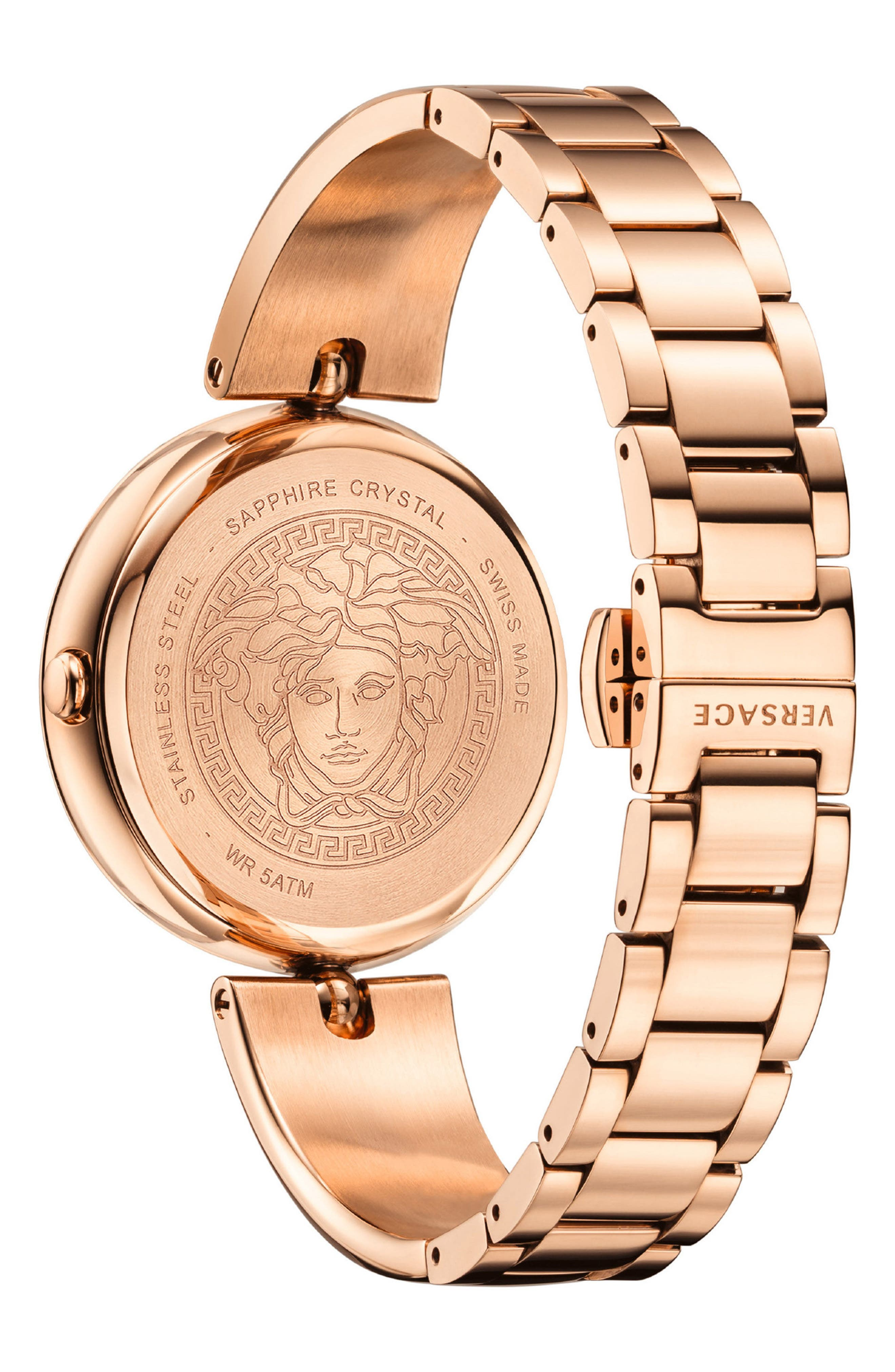 Palazzo Bangle Bracelet Watch, 39mm,                             Alternate thumbnail 2, color,                             ROSE GOLD/ WHITE/ ROSE GOLD