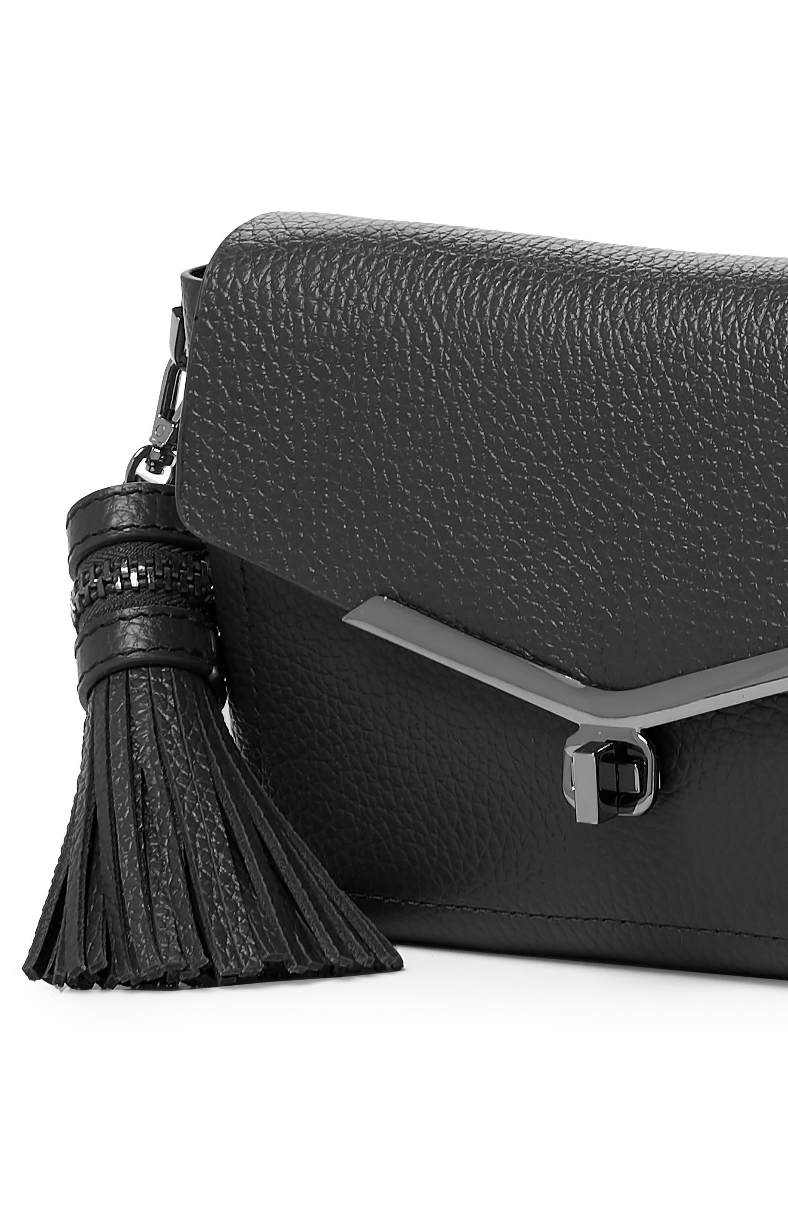 Vivi Leather Crossbody Bag,                             Alternate thumbnail 4, color,                             001