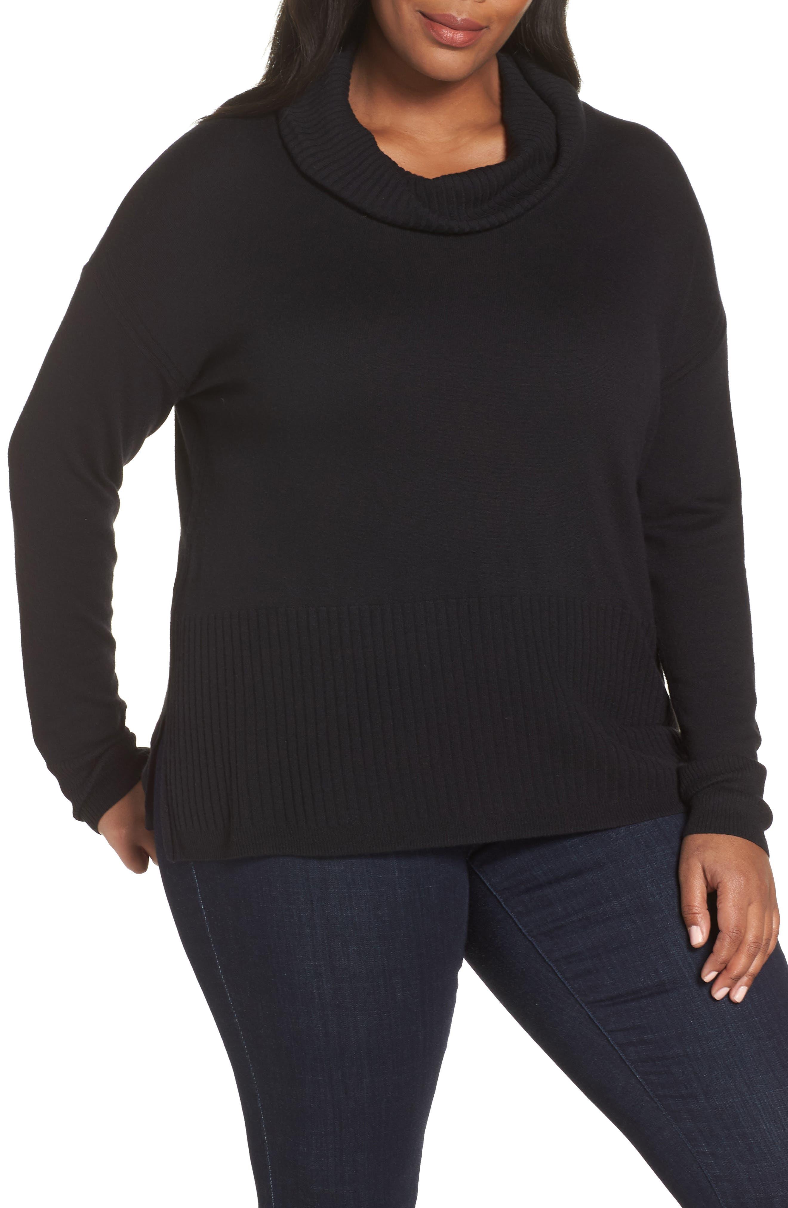 SEJOUR Cowl Neck Pullover, Main, color, BLACK