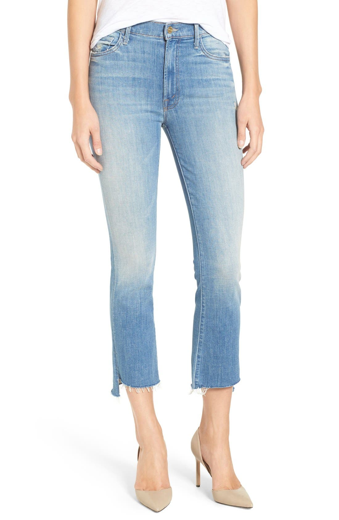 'The Insider' Crop Step Fray Jeans,                         Main,                         color, SHAKE WELL