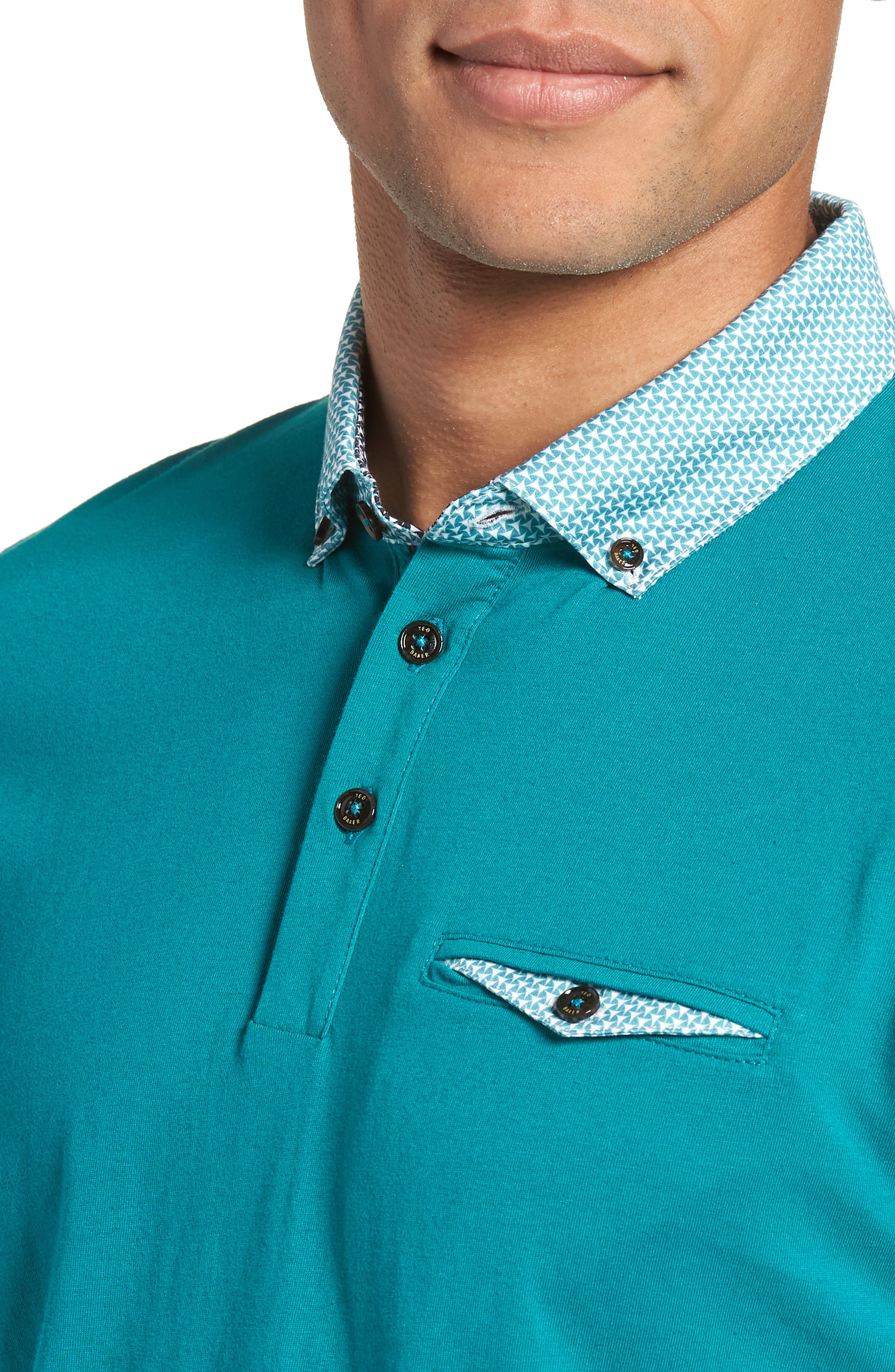Movey Trim Fit Woven Geo Polo,                             Alternate thumbnail 14, color,