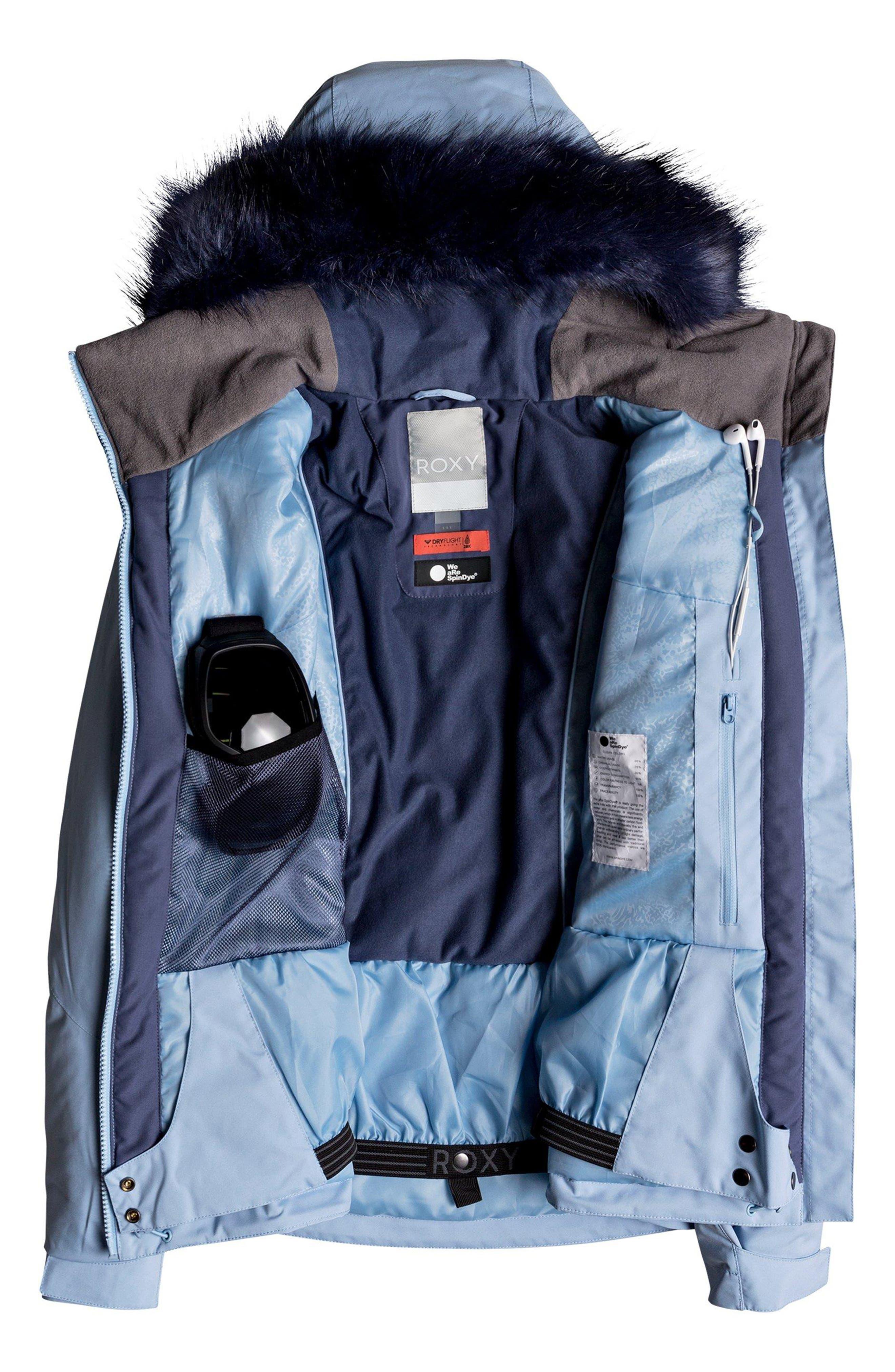 Down the Line Snow Jacket with Faux Fur Trim,                             Alternate thumbnail 2, color,                             POWDER BLUE