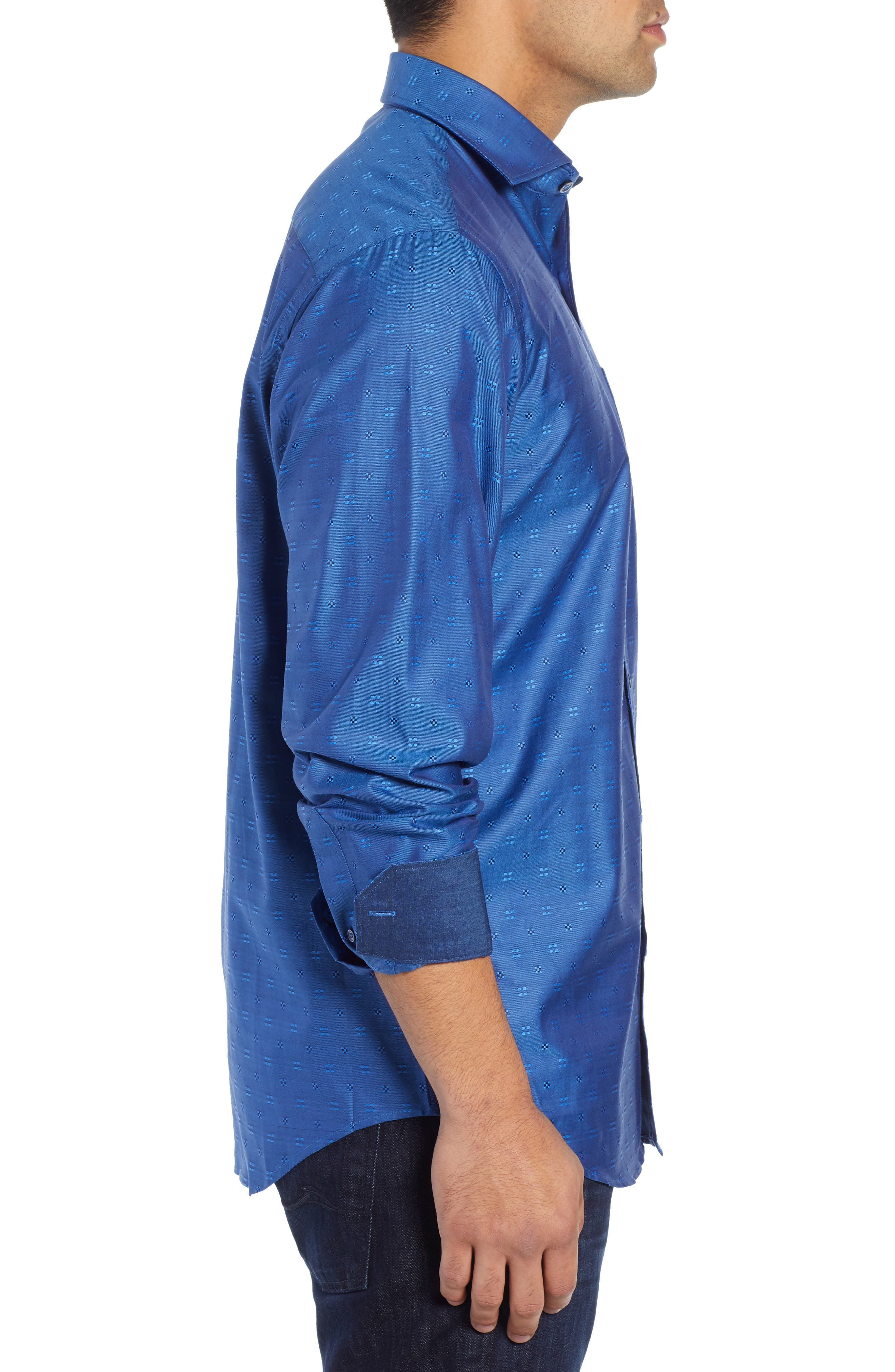 BUGATCHI,                             Classic Fit Embroidered Sport Shirt,                             Alternate thumbnail 4, color,                             CLASSIC BLUE