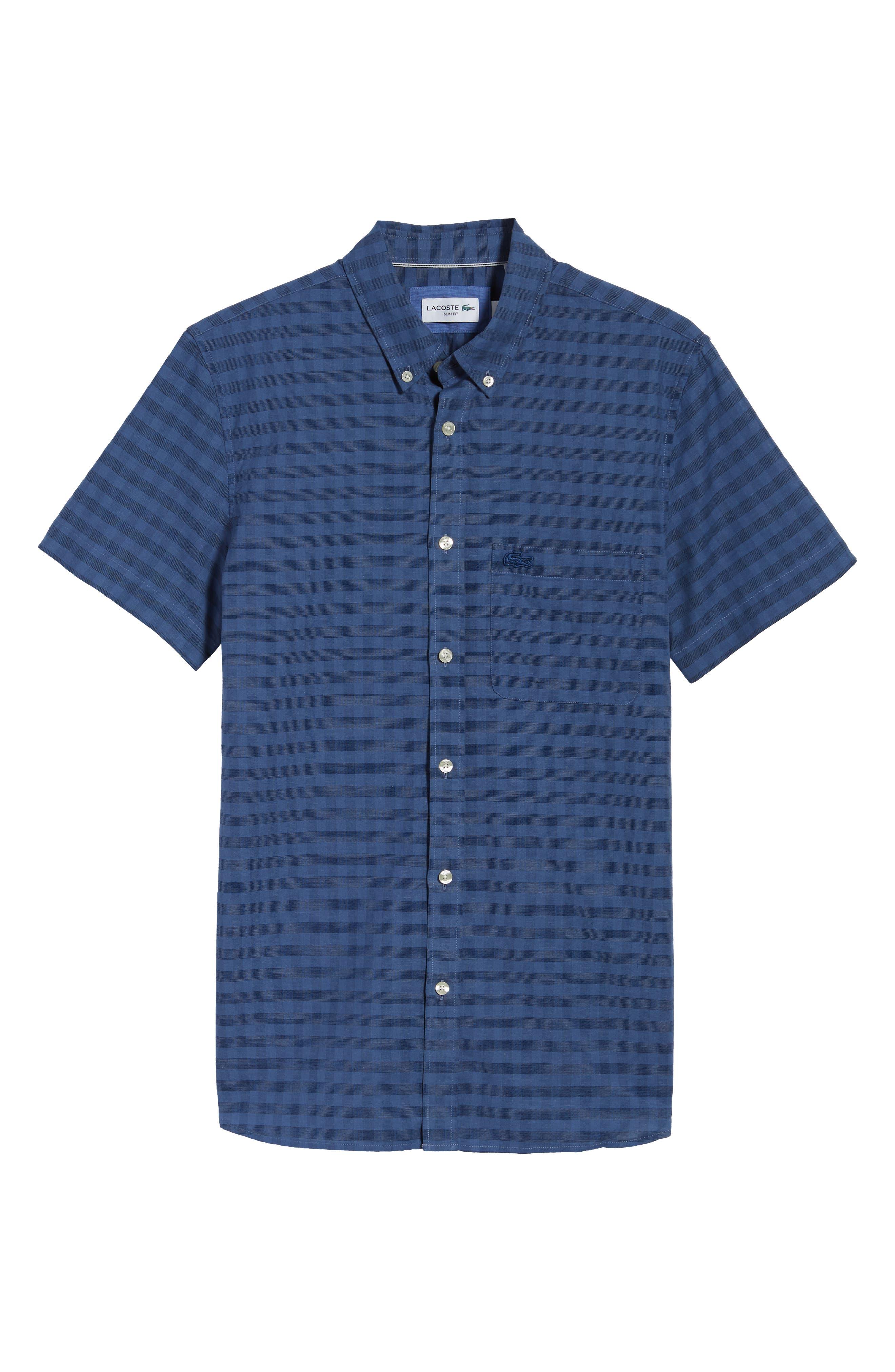 Slim Fit Check Cotton & Linen Sport Shirt,                             Alternate thumbnail 6, color,                             MARINO