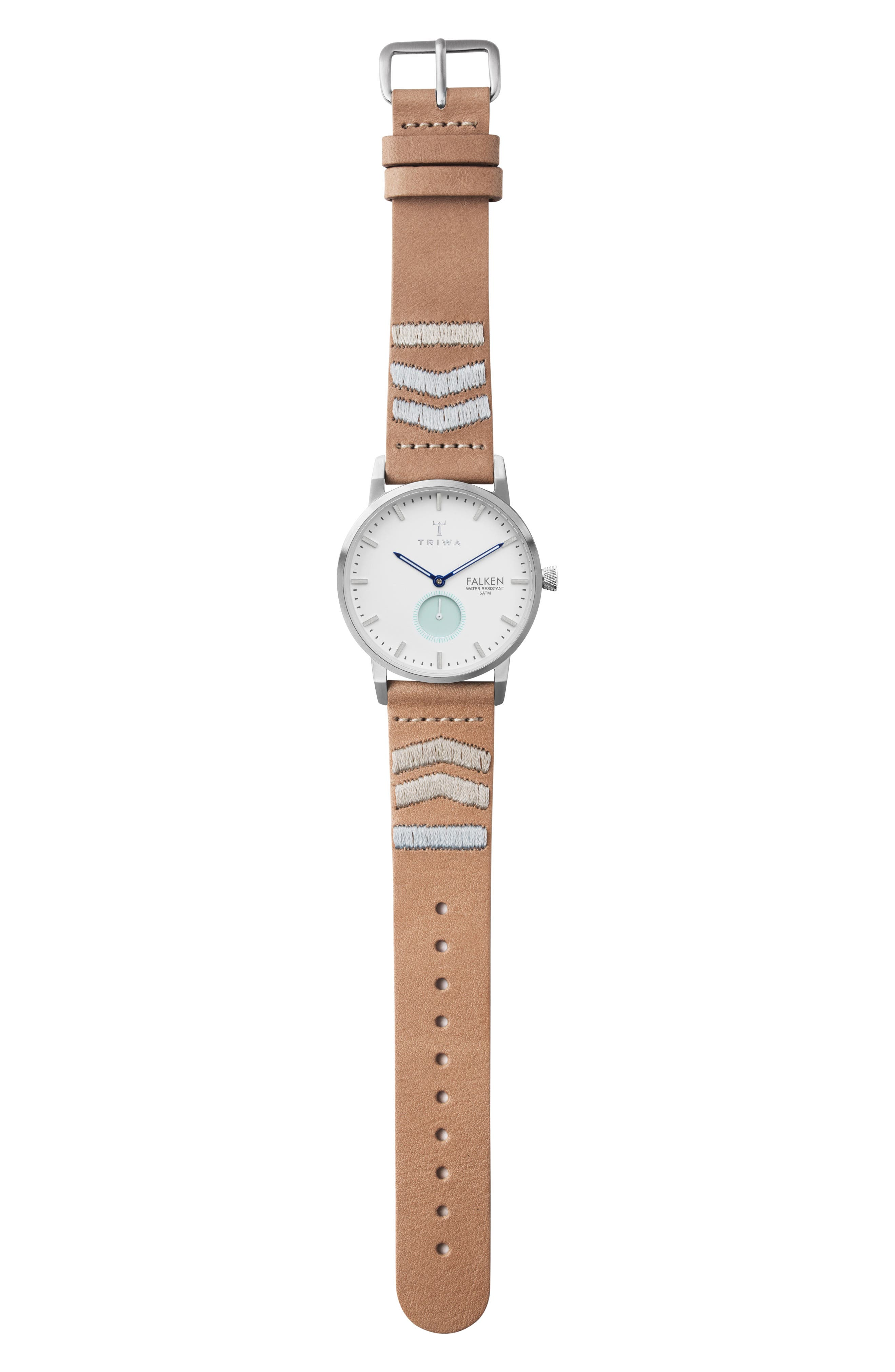 Wave Falken Embroidered Leather Strap Watch, 38mm,                             Alternate thumbnail 3, color,                             TAN EMBROIDERED/ WHITE/ SILVER
