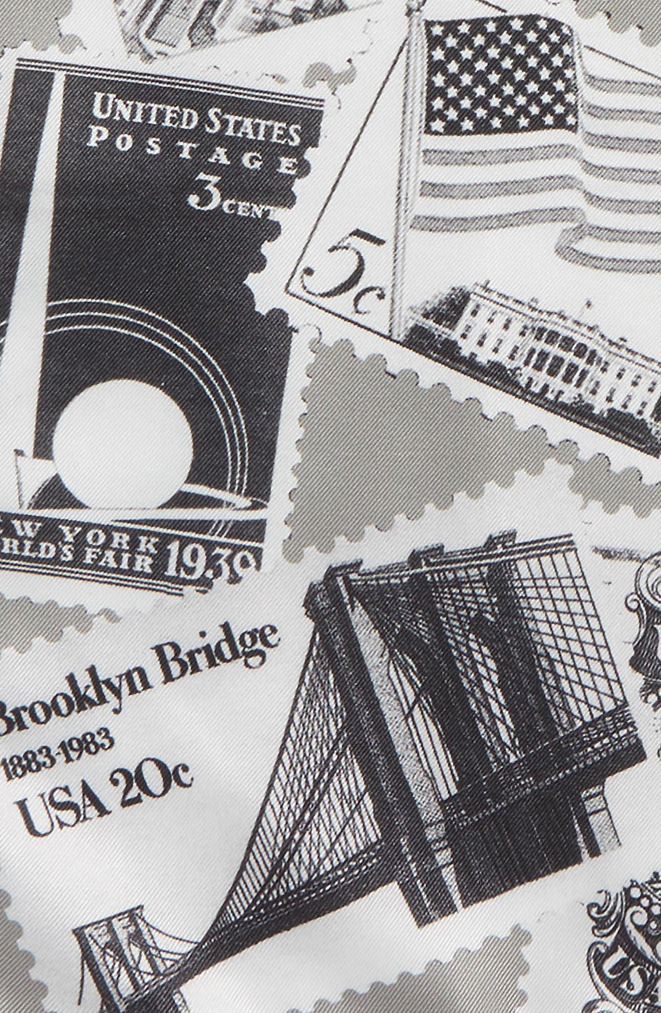New York Stamp Silk Pocket Square,                             Alternate thumbnail 3, color,                             GREY