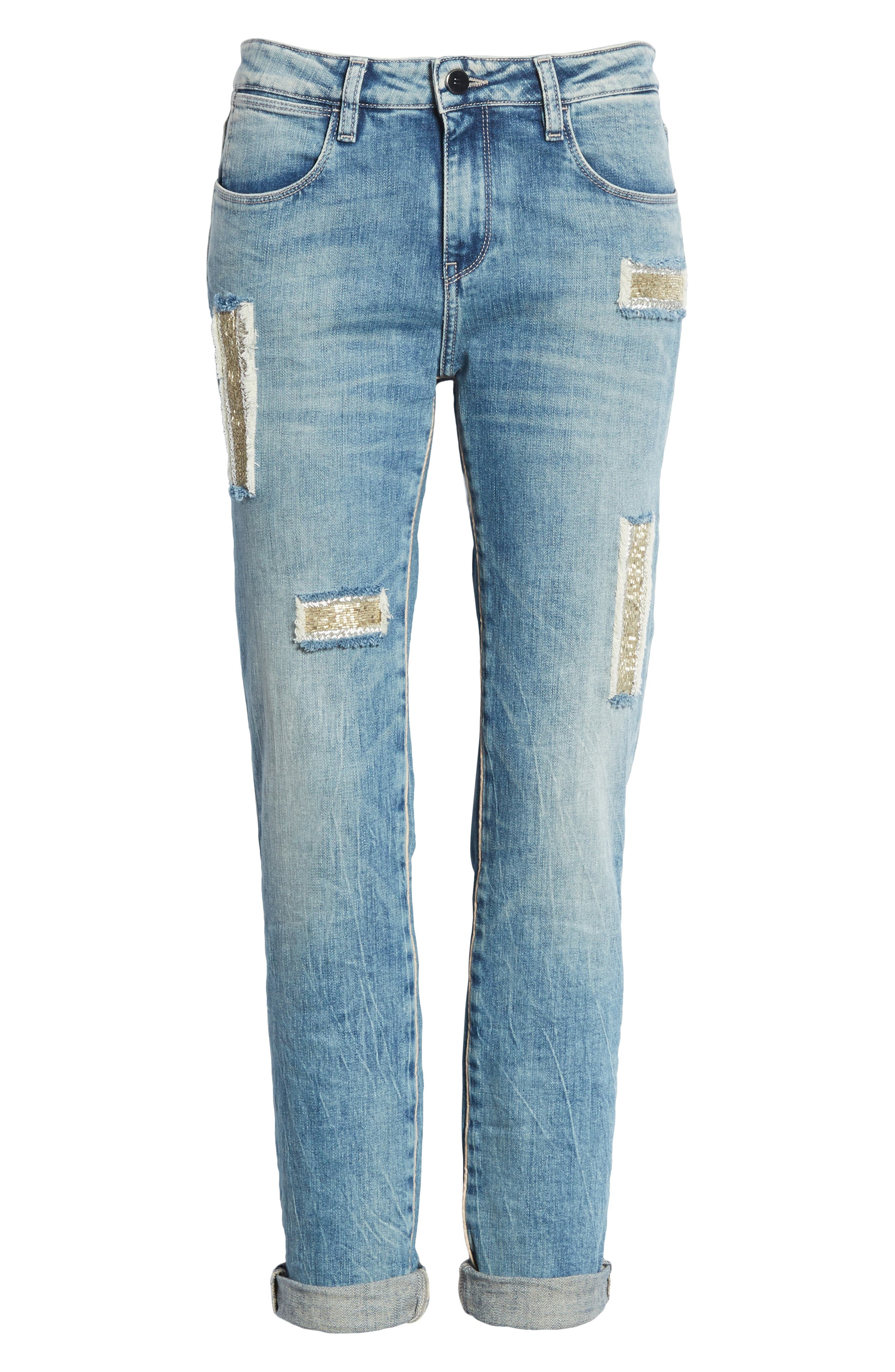 Embellished Boyfriend Jeans,                             Alternate thumbnail 6, color,                             450
