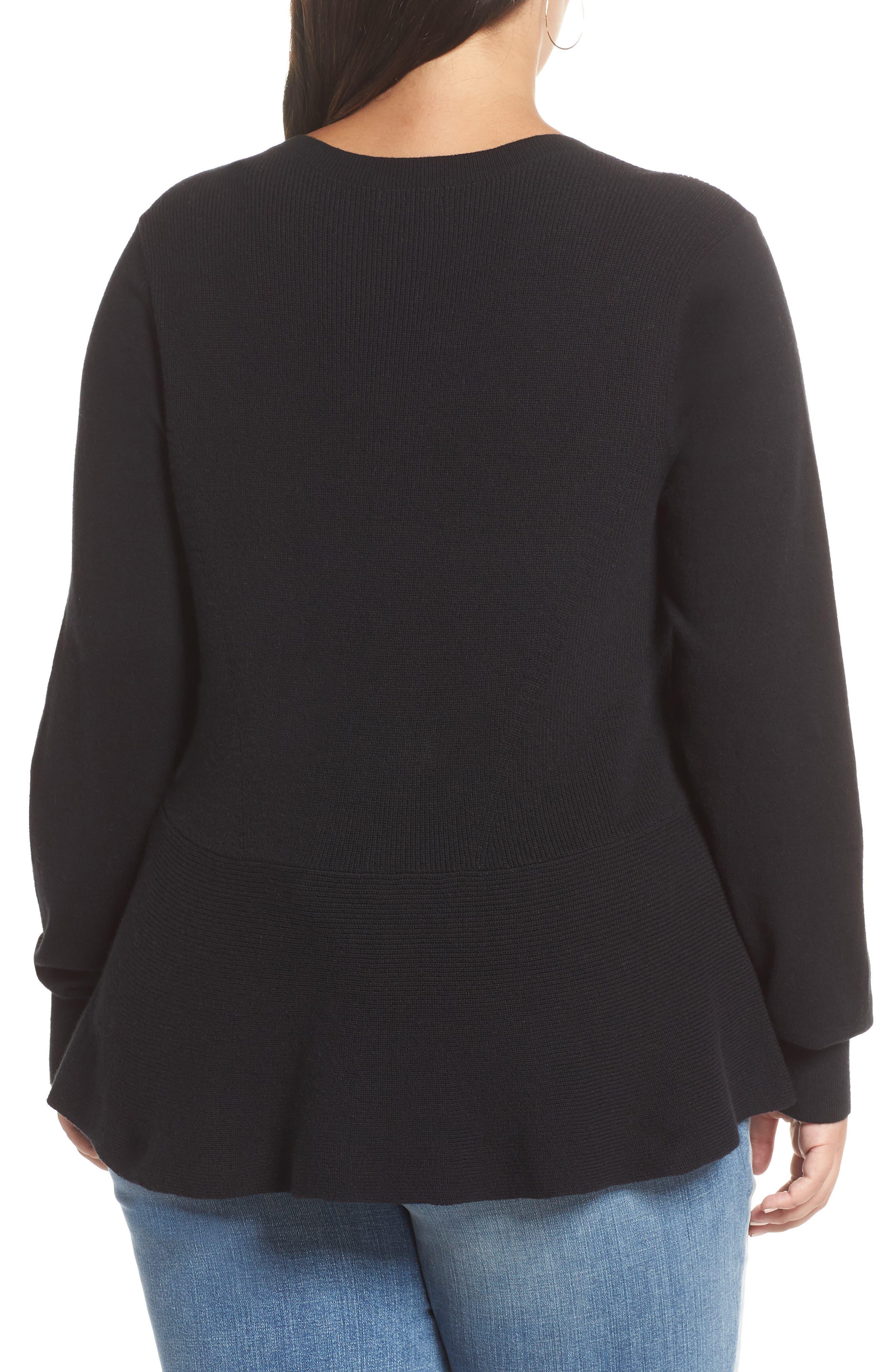 Peplum Sweater,                             Alternate thumbnail 2, color,                             001