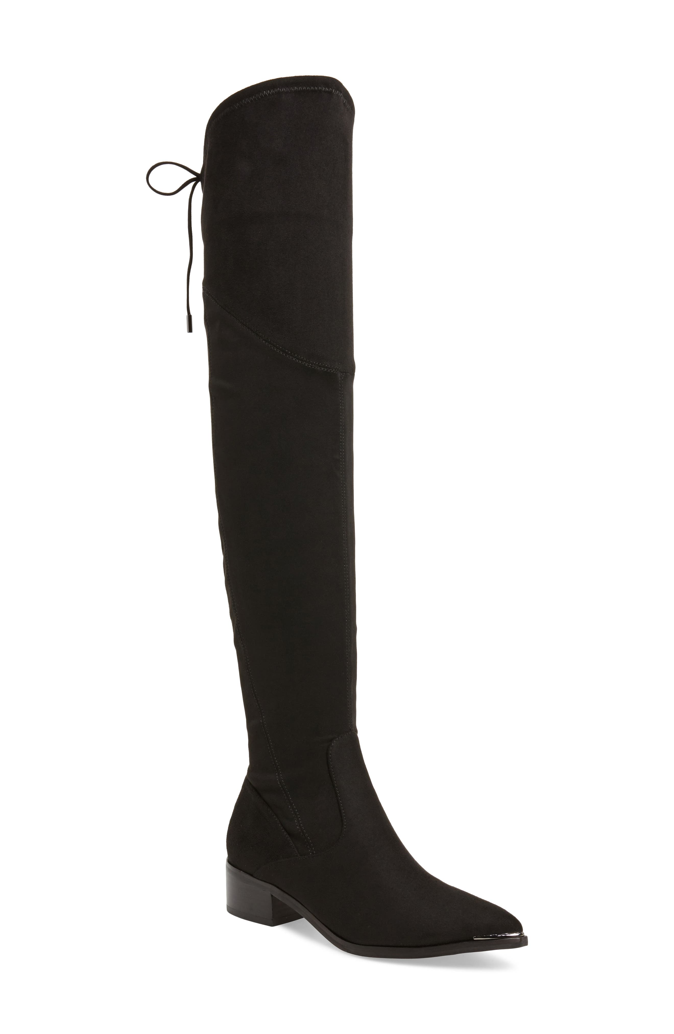 Yuna Over the Knee Boot,                             Main thumbnail 1, color,                             BLACK FAUX SUEDE