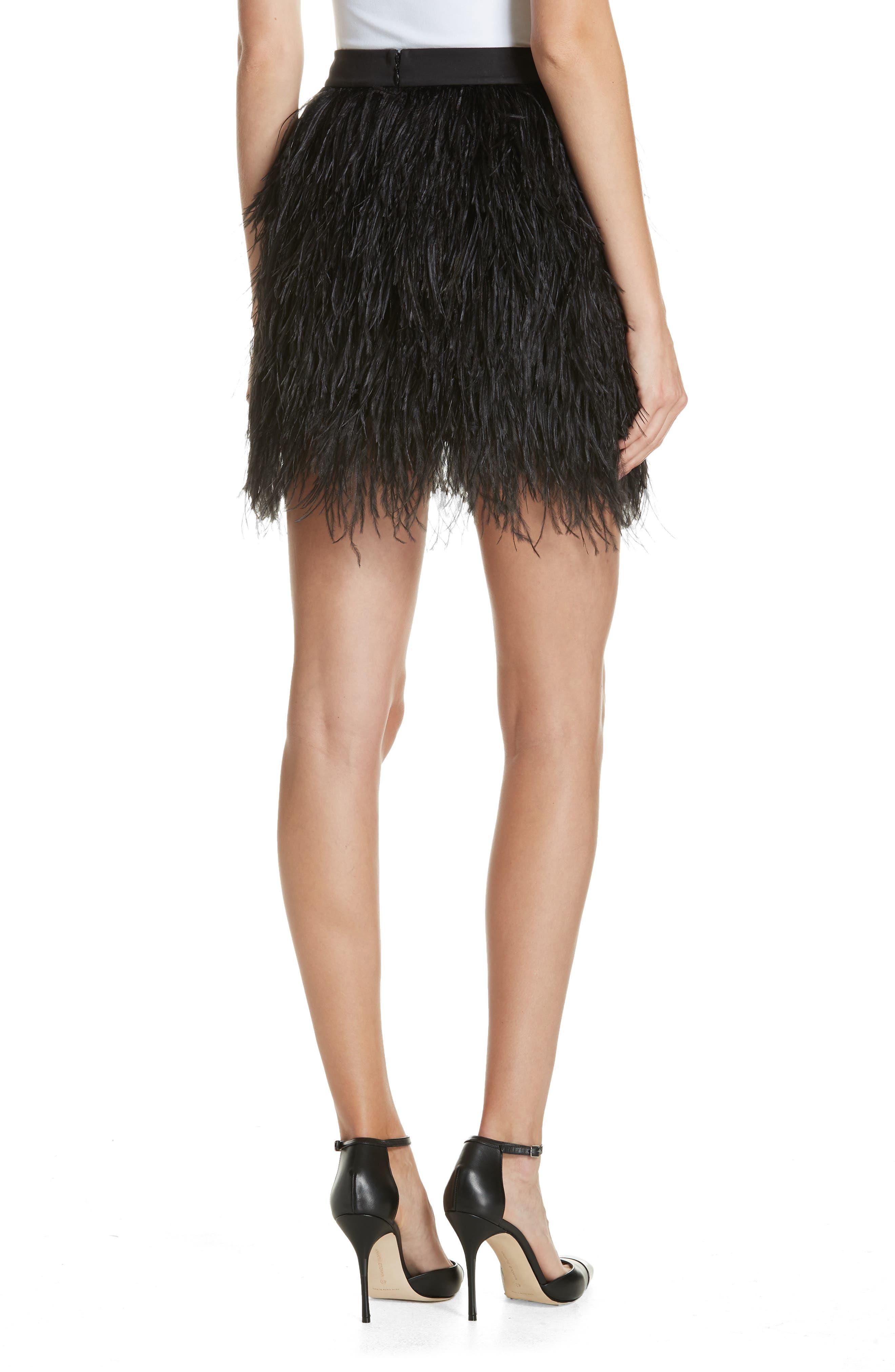 Ostrich Feather Miniskirt,                             Alternate thumbnail 2, color,                             001