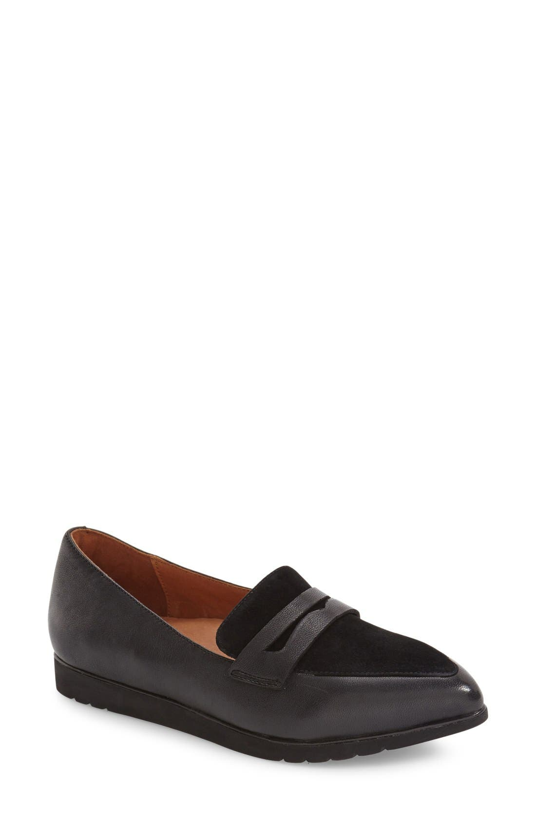 'Miamore' Pointy Toe Loafer,                             Main thumbnail 1, color,                             001