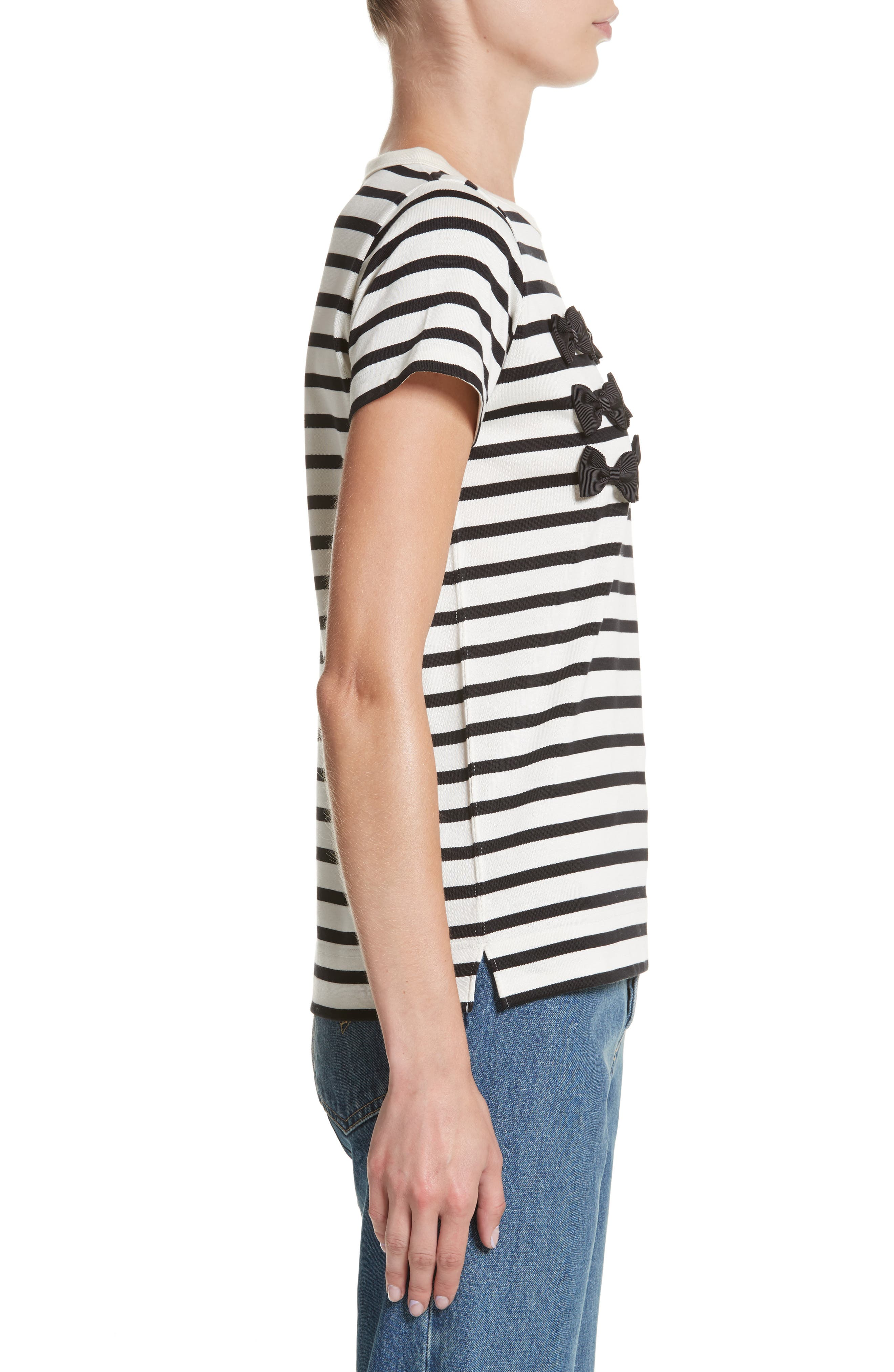 Grosgrain Bow Stripe Tee,                             Alternate thumbnail 3, color,                             900