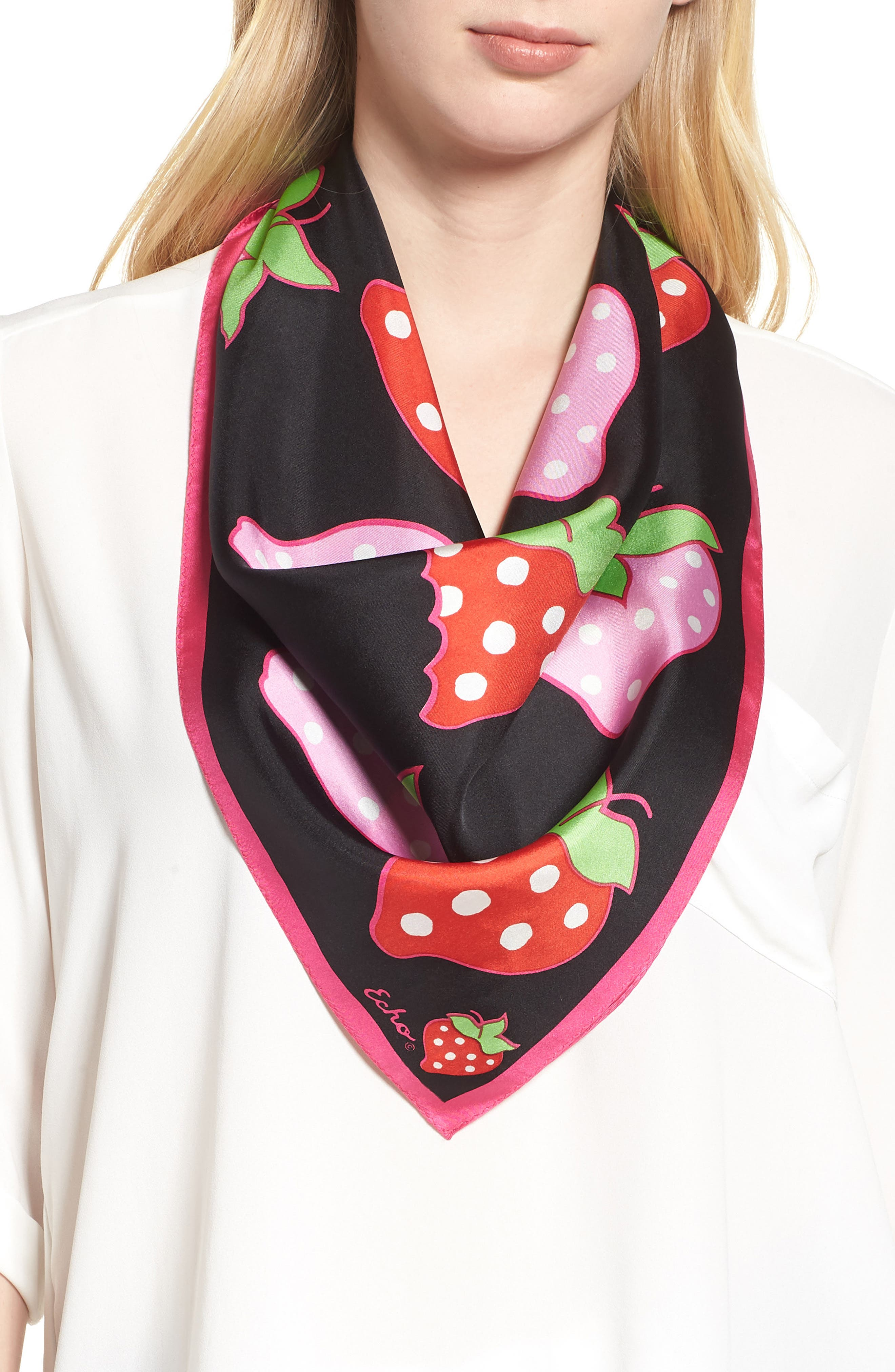 Strawberry Patch Square Silk Scarf,                             Main thumbnail 1, color,                             BLACK