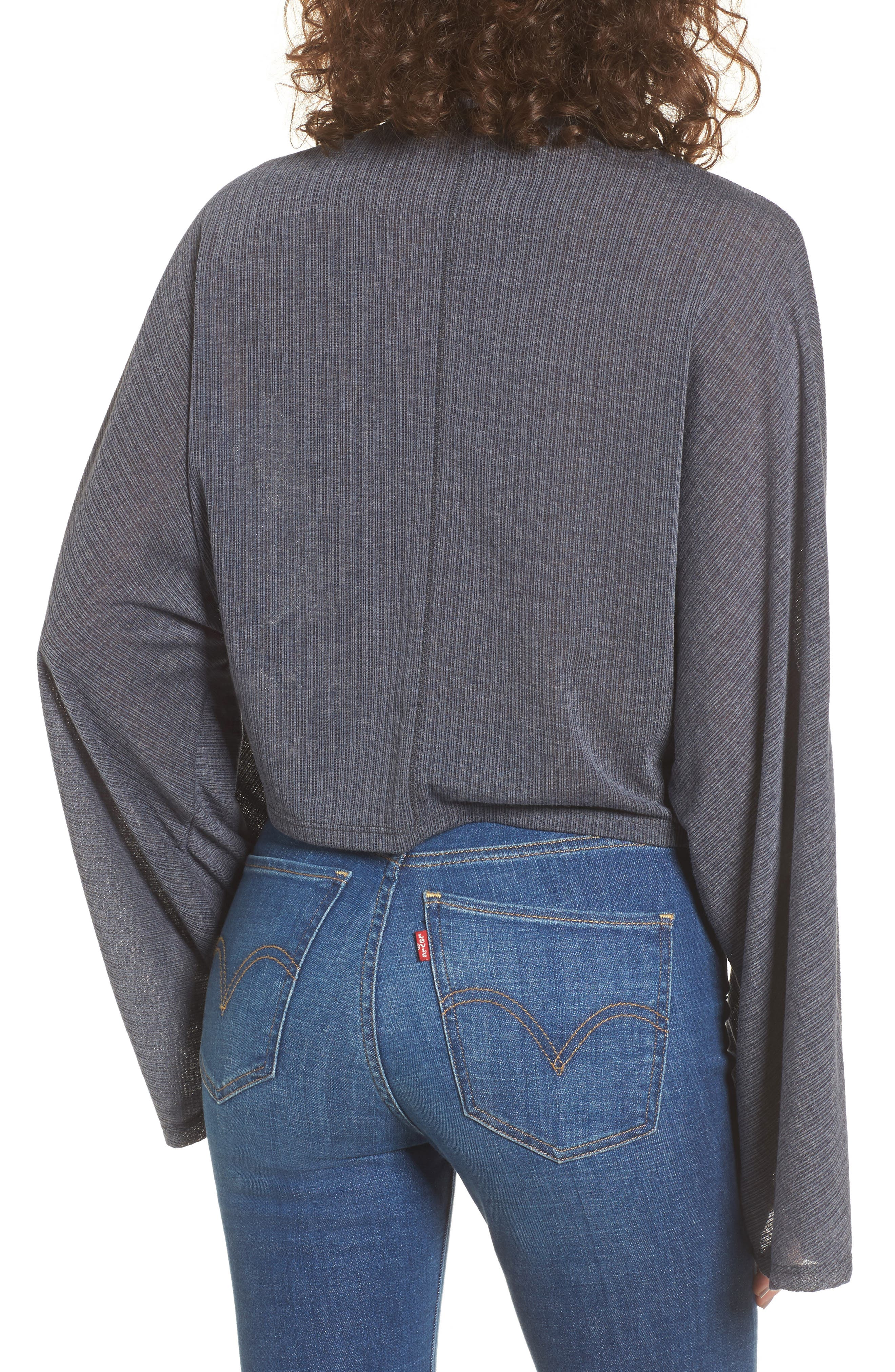 Ribbed Bell Sleeve Crop Top,                             Alternate thumbnail 4, color,