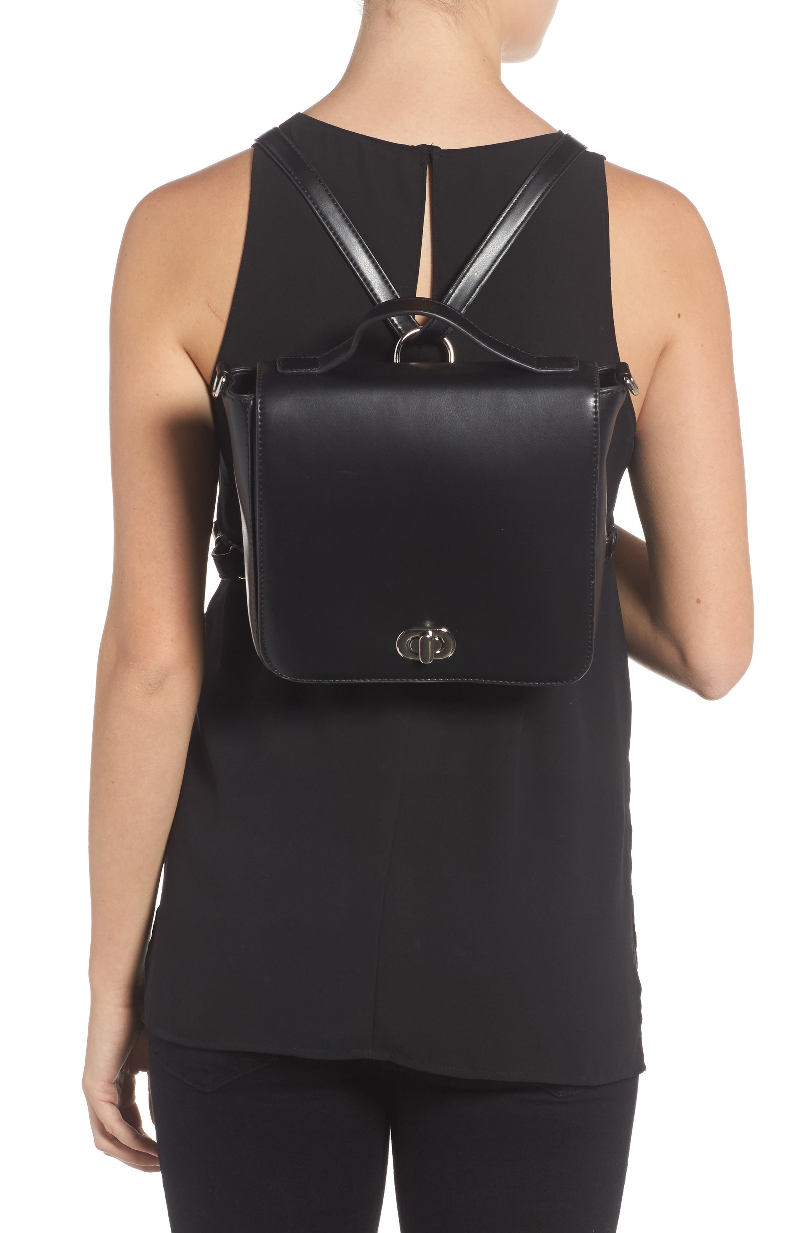 Convertible Faux Leather Backpack,                             Alternate thumbnail 2, color,                             001