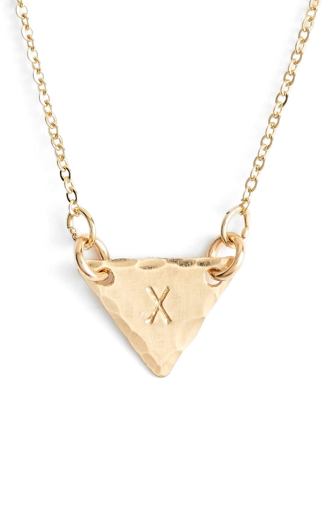 14k-Gold Fill Initial Triangle Necklace,                             Main thumbnail 24, color,