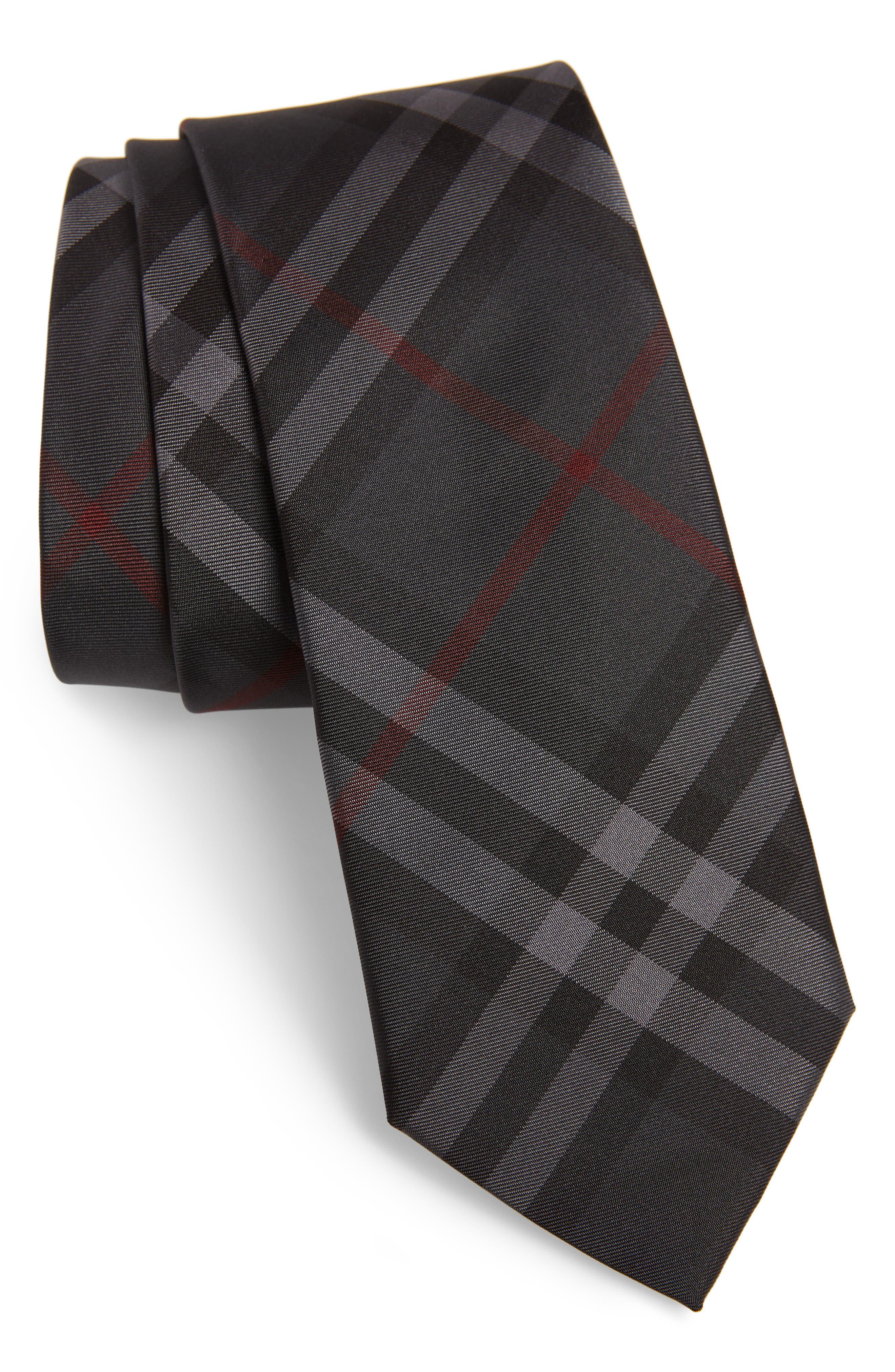 Manston Check Silk Tie,                         Main,                         color, DARK CHARCOAL