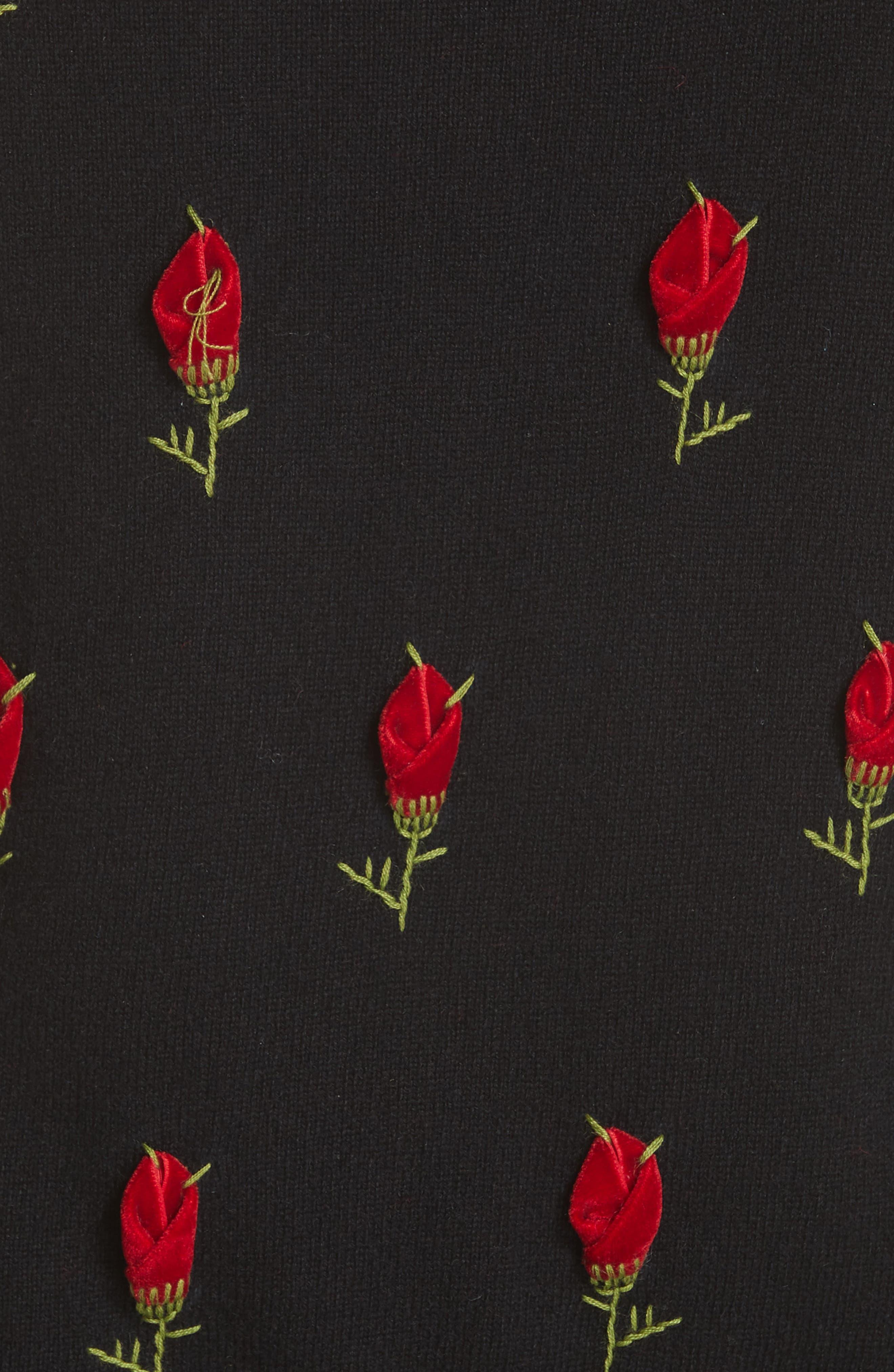 Velvet Rose Embroidered Cashmere Sweater,                             Alternate thumbnail 5, color,                             BLACK / CRIMSON