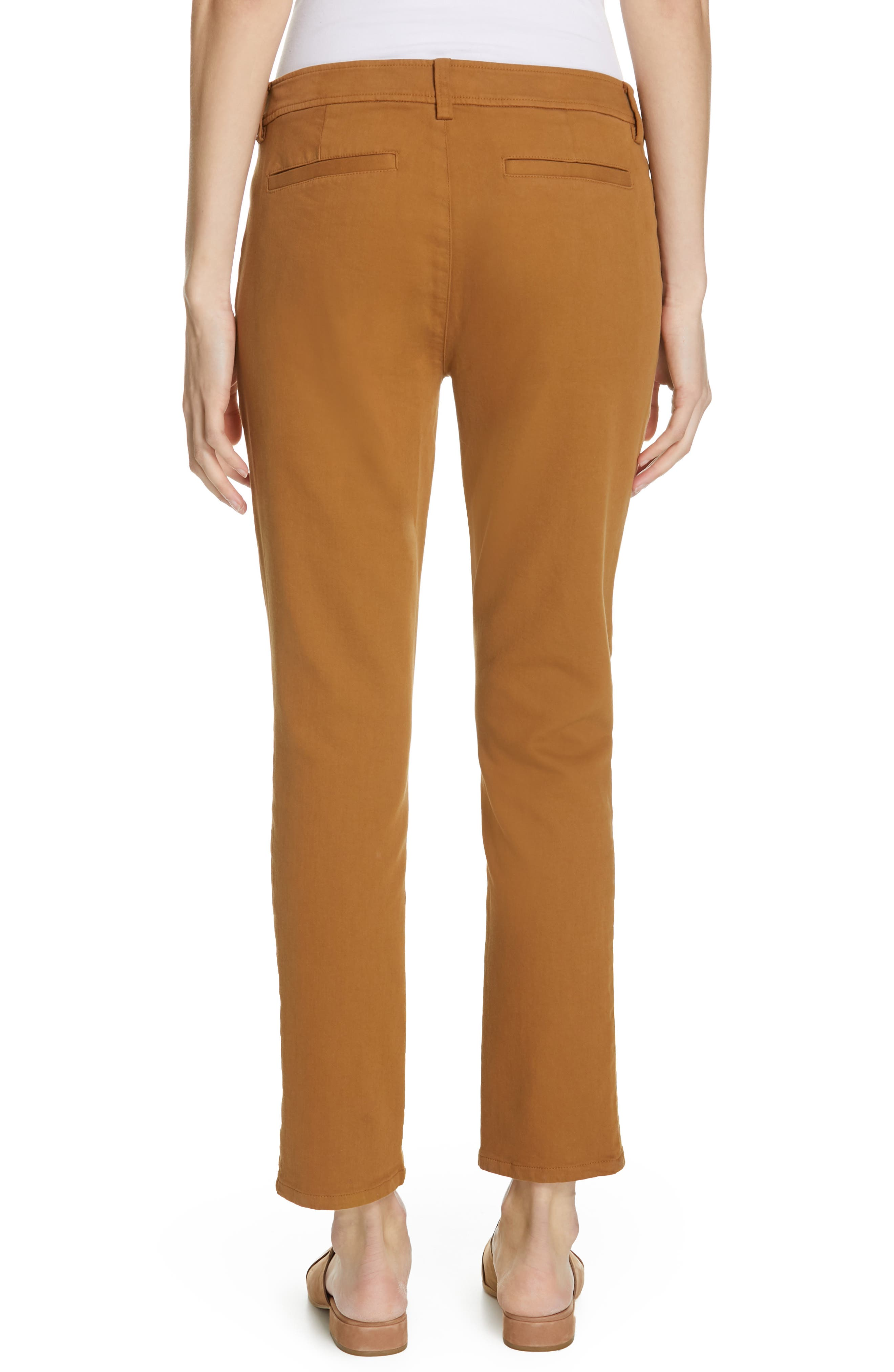 EILEEN FISHER,                             Slim Stretch Cotton Pants,                             Alternate thumbnail 2, color,                             DARK CLAY