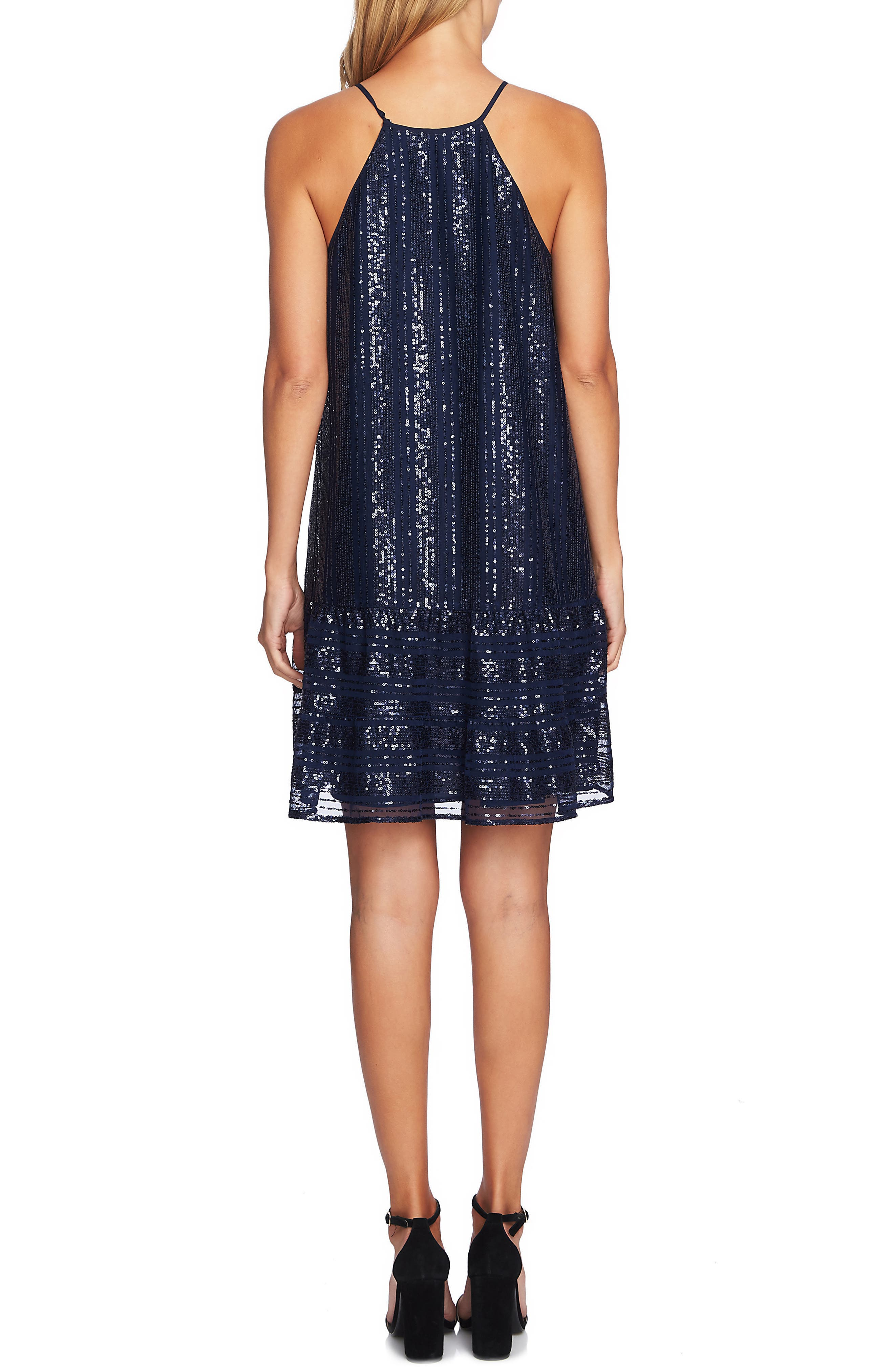 Sequin Ruffle Trim Dress,                             Alternate thumbnail 2, color,                             MIDNIGHT BLOOM