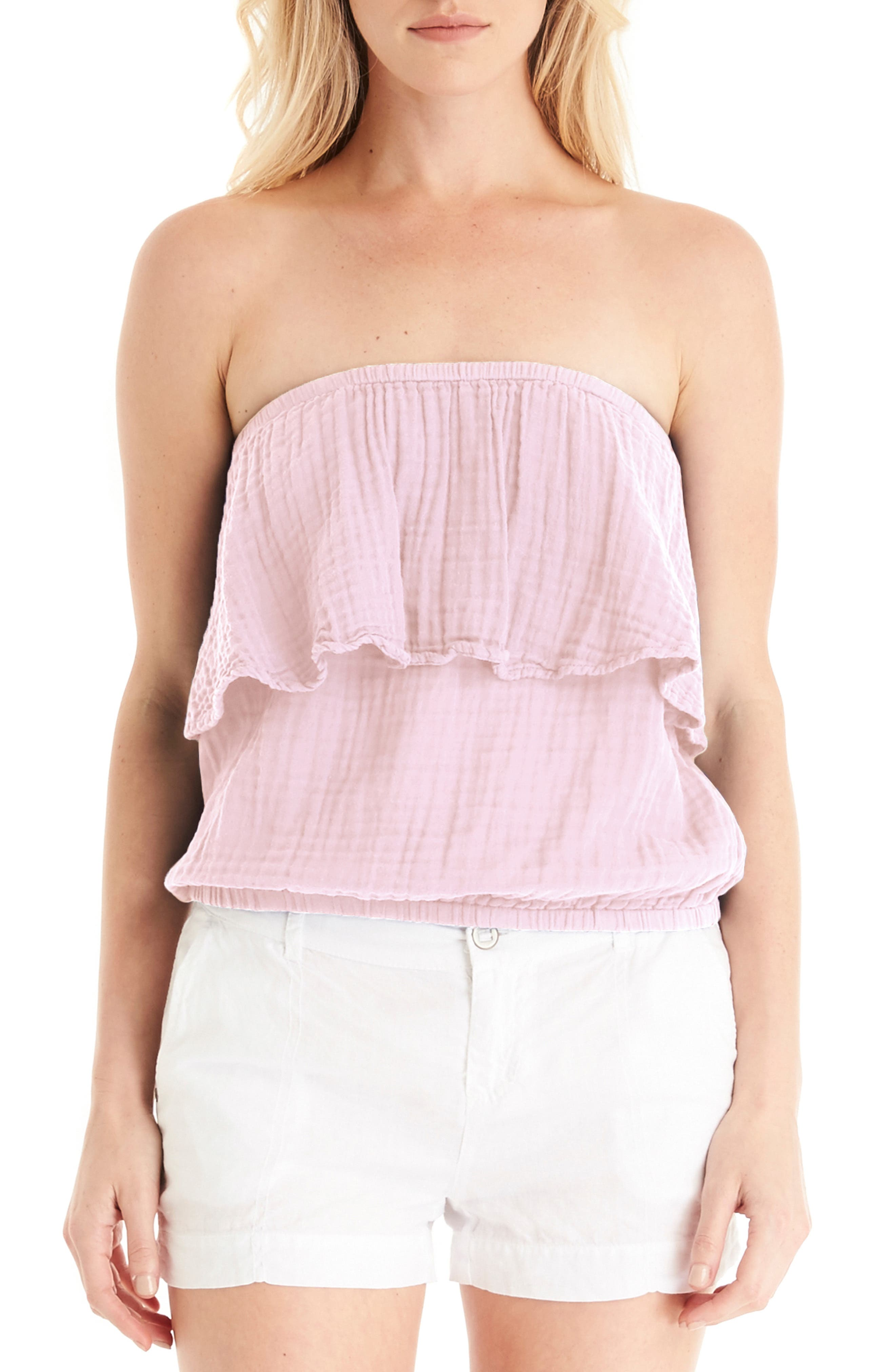 Ruffle Tube Top,                             Alternate thumbnail 3, color,                             TICKLE