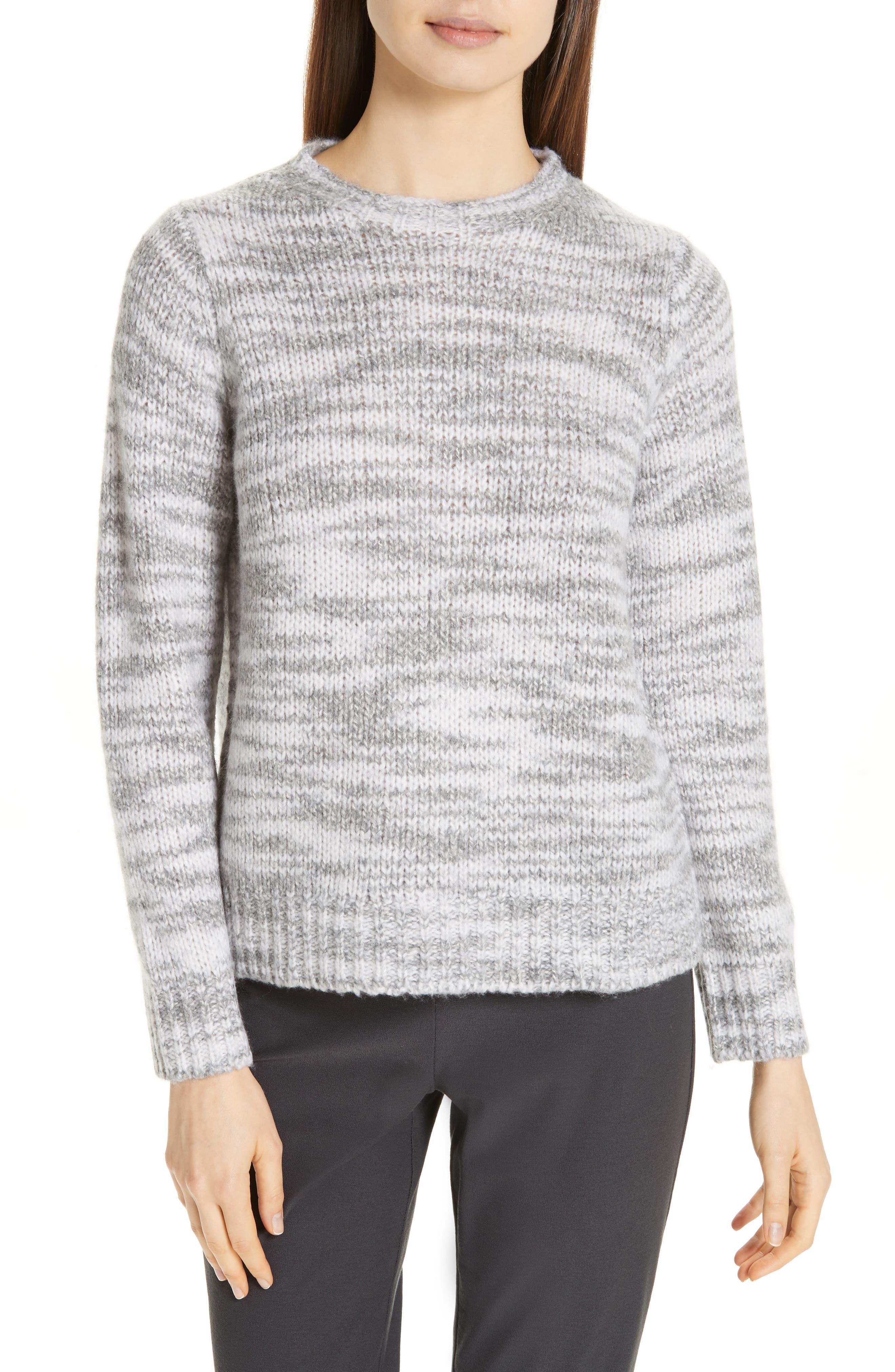 Eileen Fisher Merino Wool & Silk Sweater, Grey