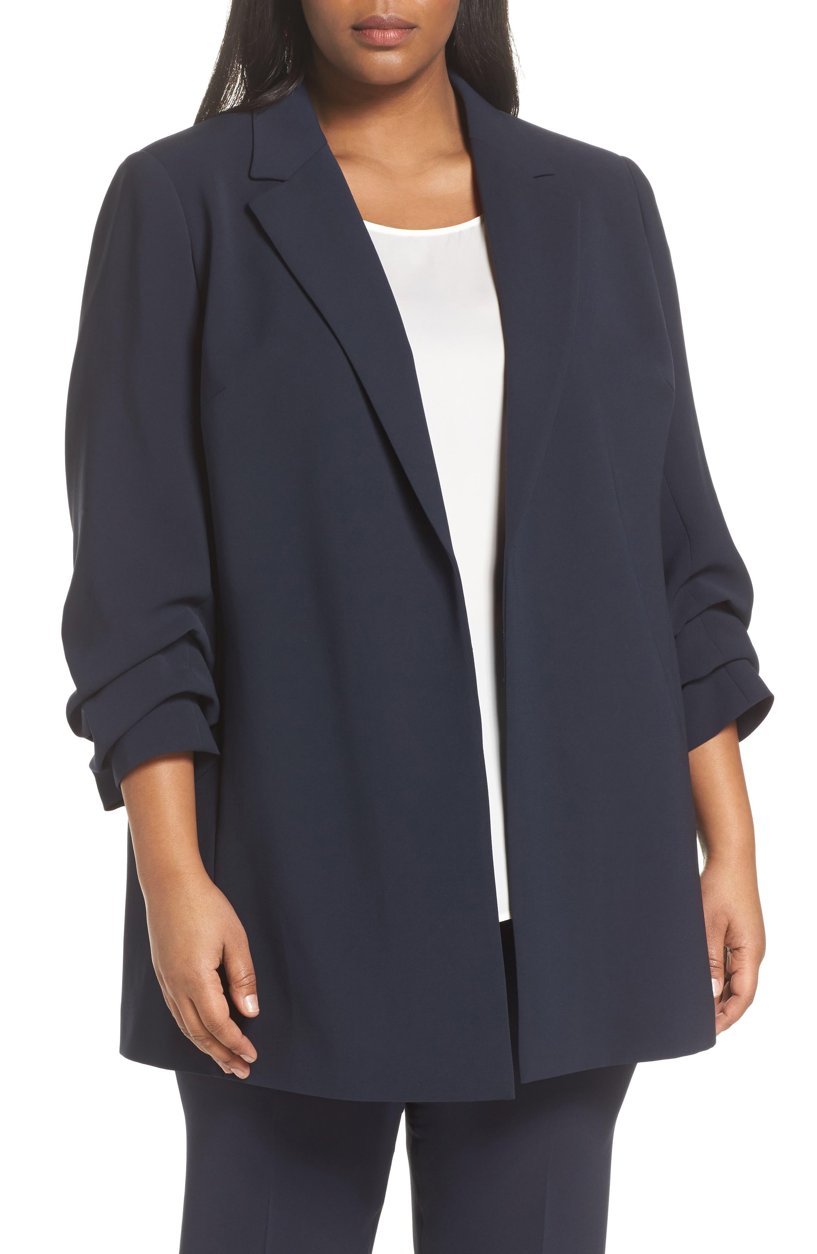 Henrik -Finesse Crepe Jacket (Plus Size,                         Main,                         color, 479