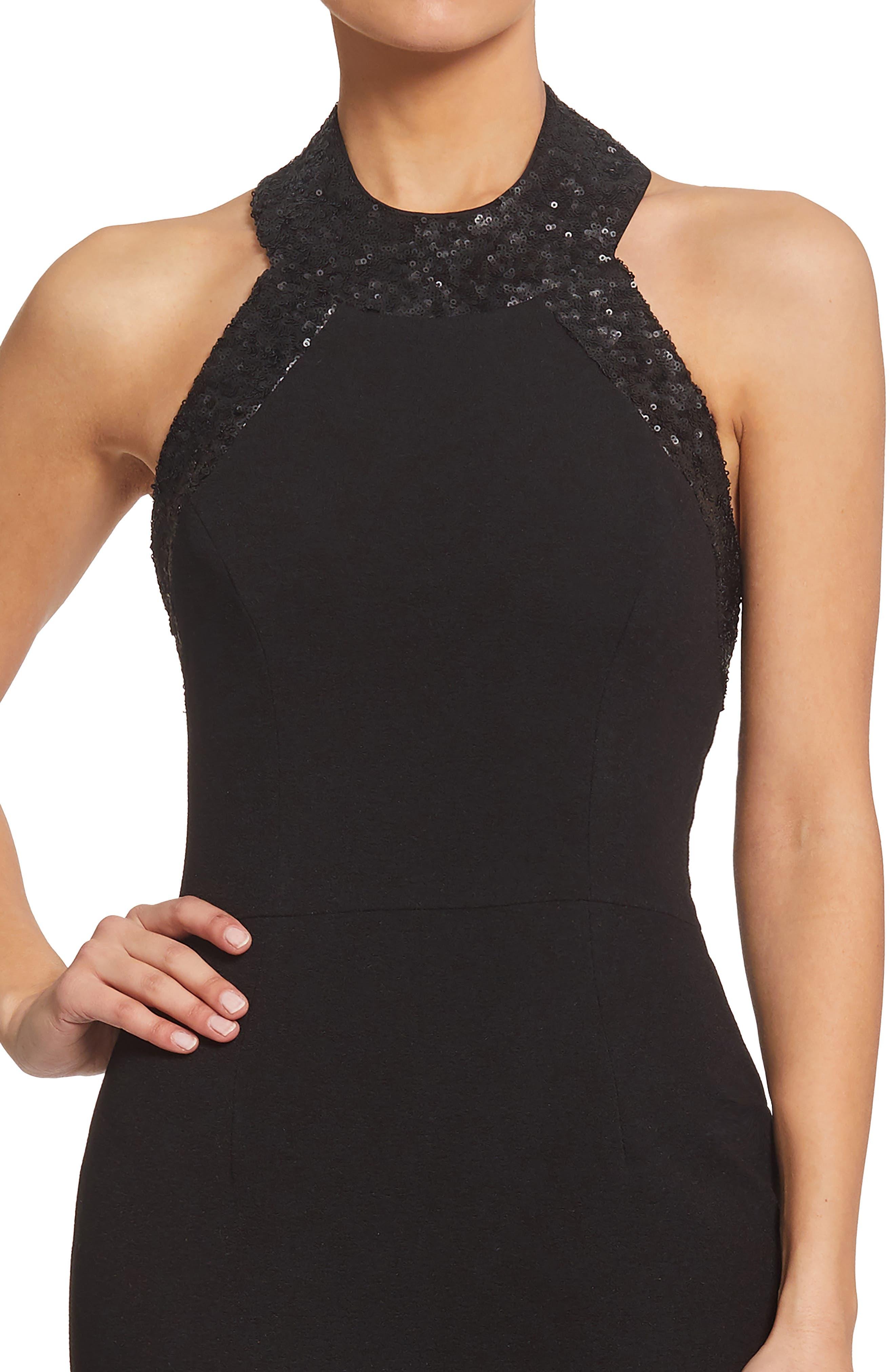 Cleo Halter Dress,                             Alternate thumbnail 6, color,                             BLACK/ BLACK