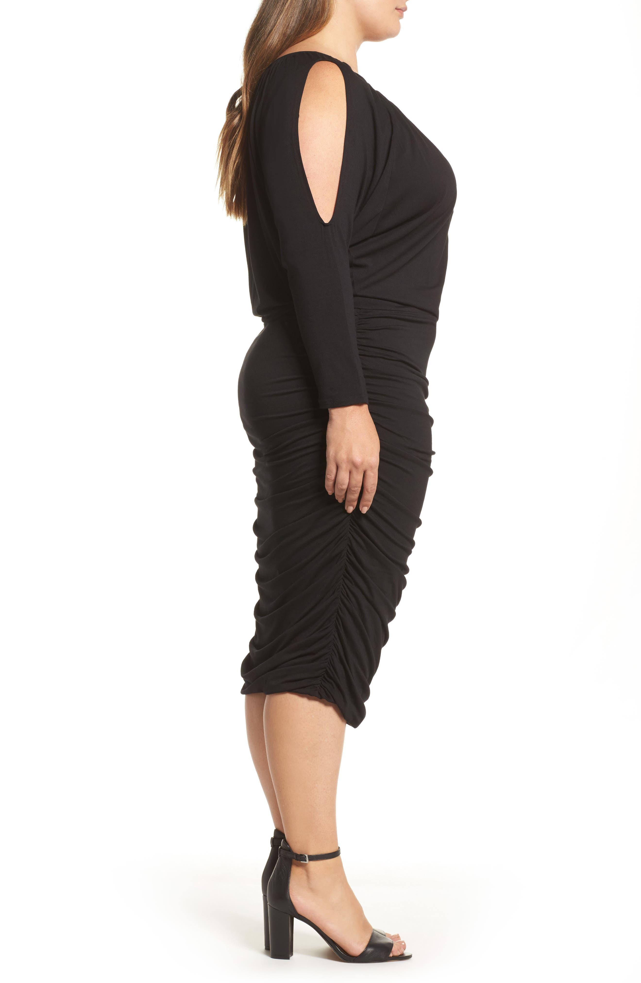 Slit Sleeve Knit Sheath Dress,                             Alternate thumbnail 3, color,                             010