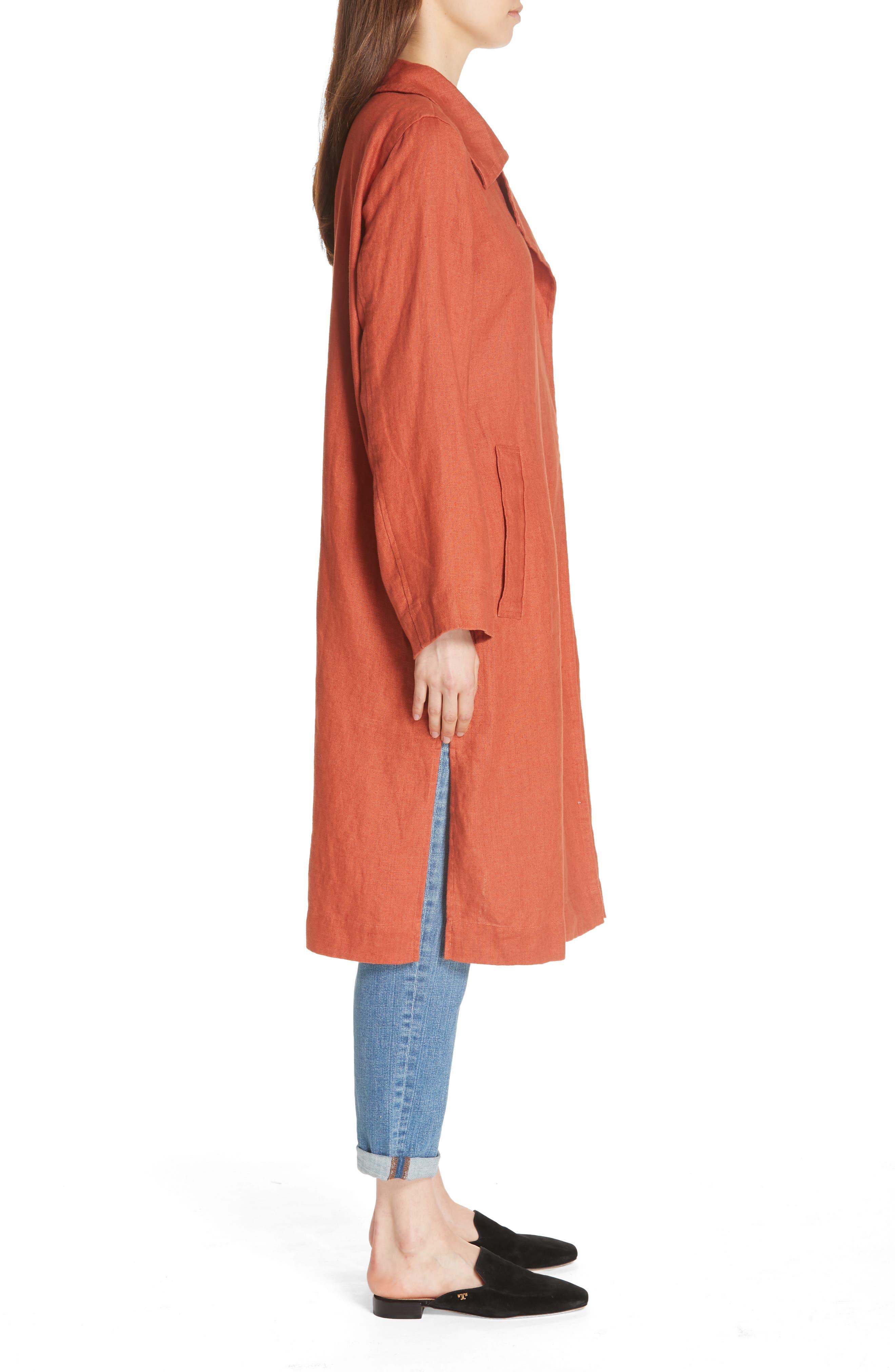 Organic Linen Trench Coat,                             Alternate thumbnail 3, color,                             822