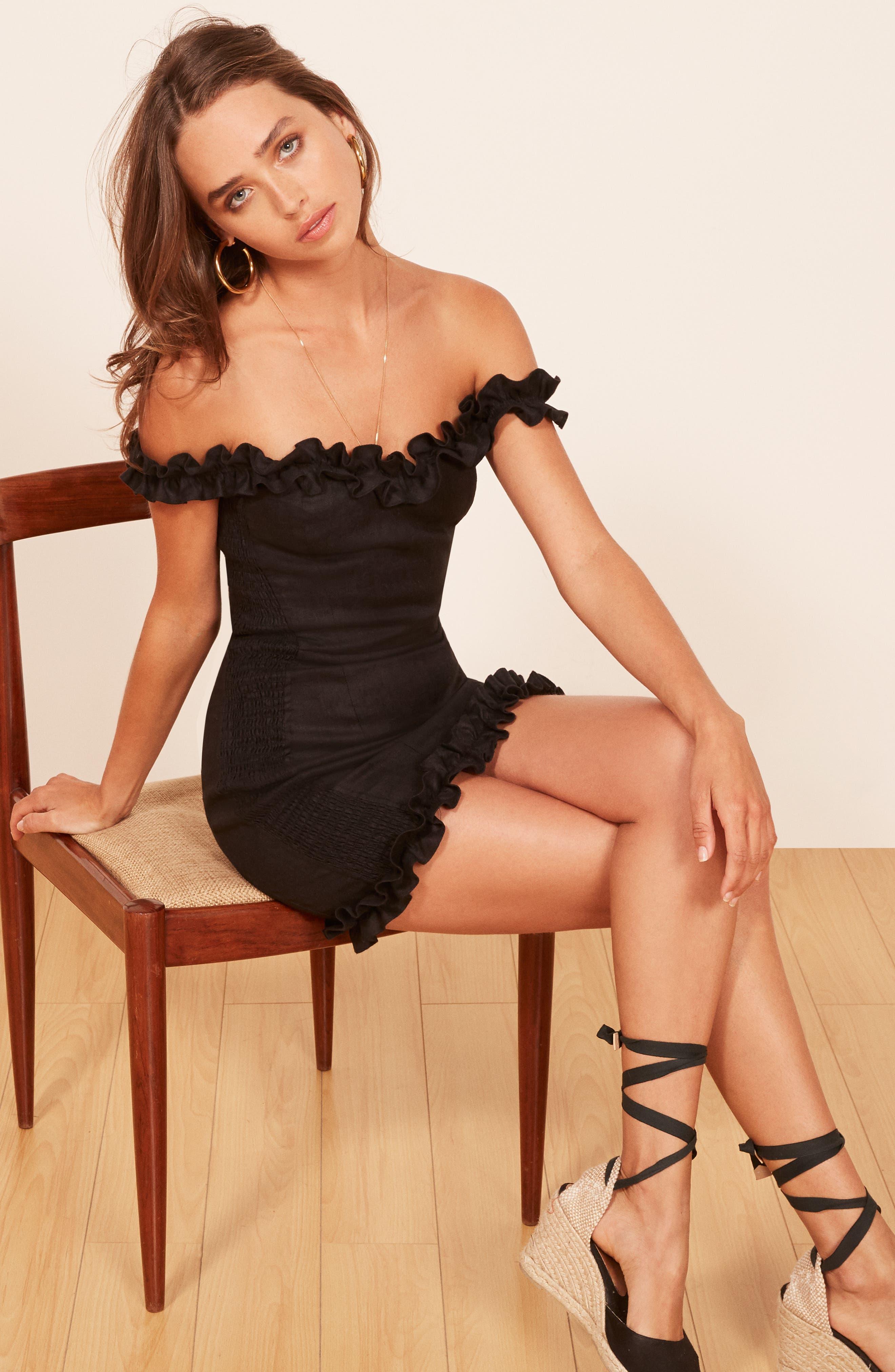 Bonita Linen Body-Con Dress,                             Alternate thumbnail 2, color,                             BLACK