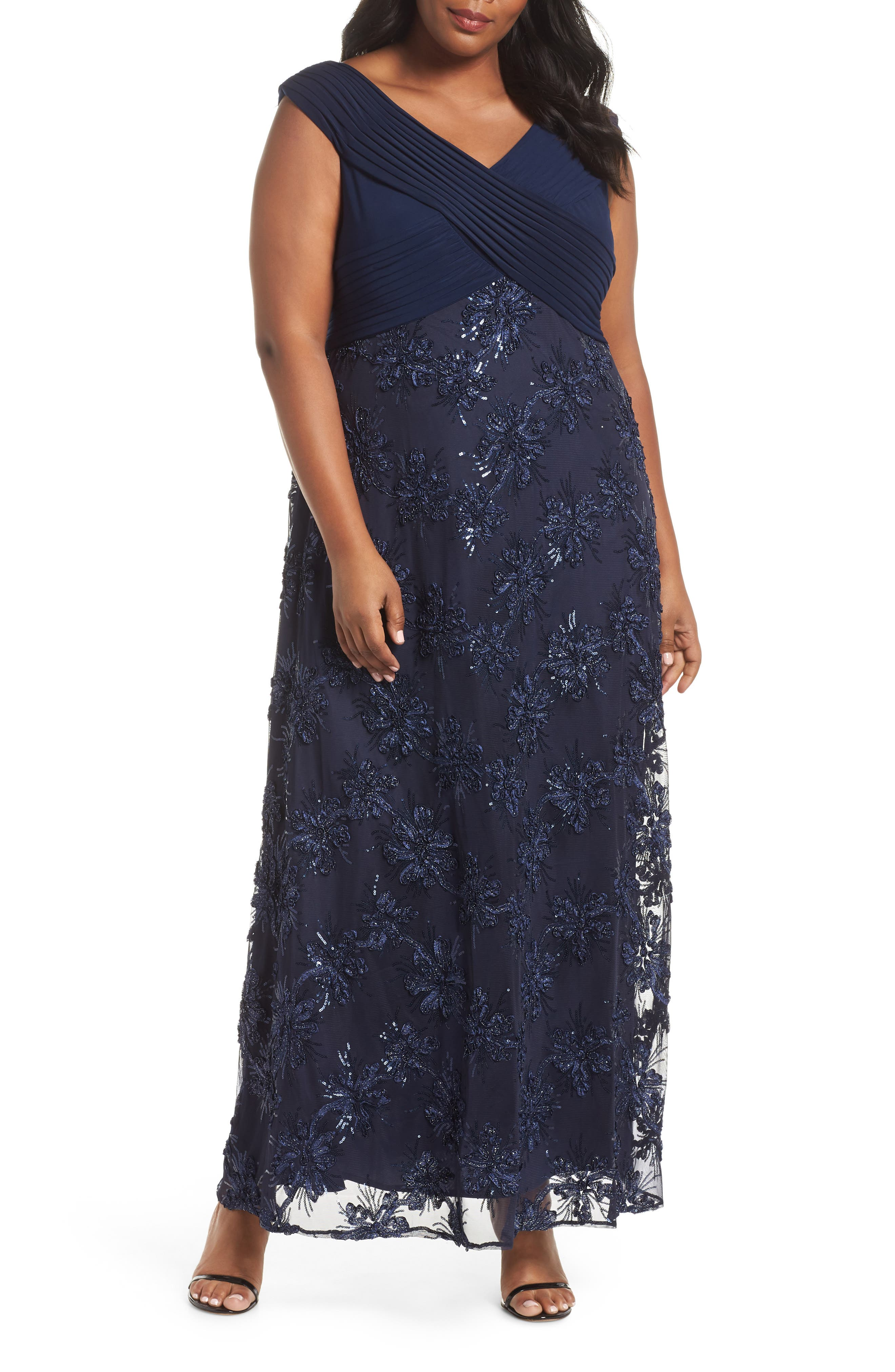 Embellished A-Line Gown,                             Main thumbnail 1, color,                             NAVY