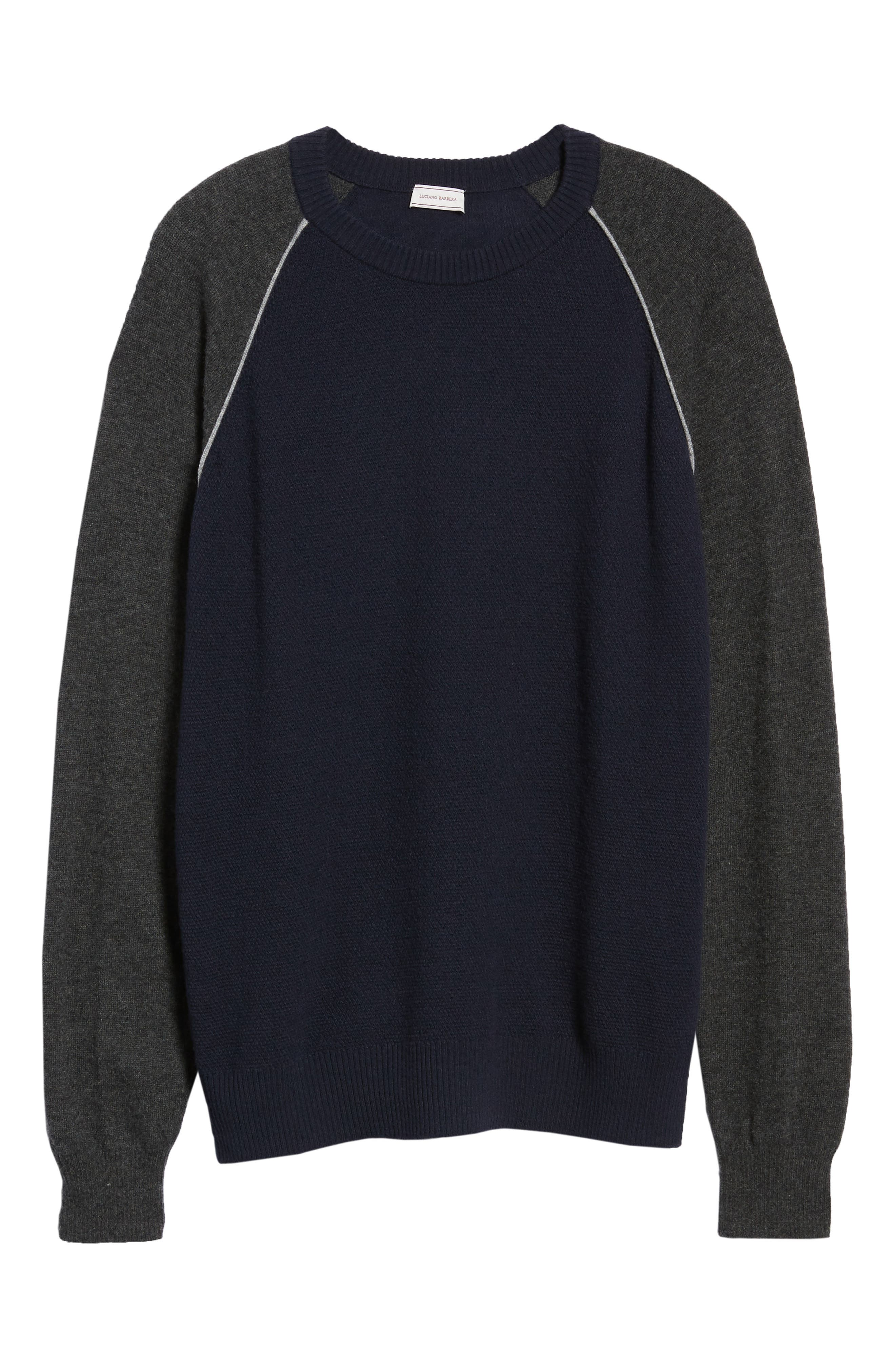 Active Crewneck Wool & Cashmere Sweater,                             Alternate thumbnail 6, color,                             NAVY
