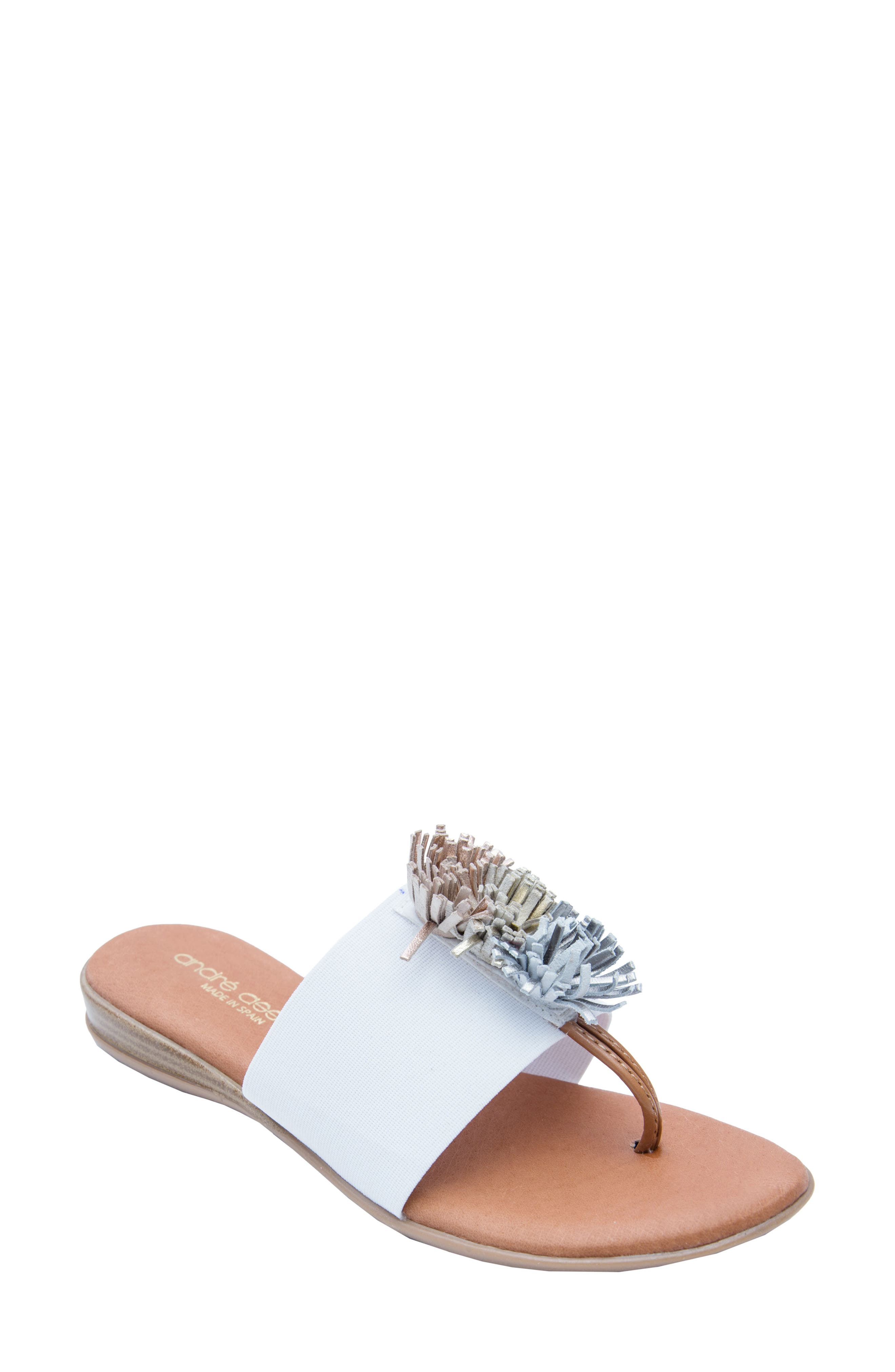 ANDRE ASSOUS Women'S Novalee Leather Fringe Demi Wedge Sandals in White Metal Fabric