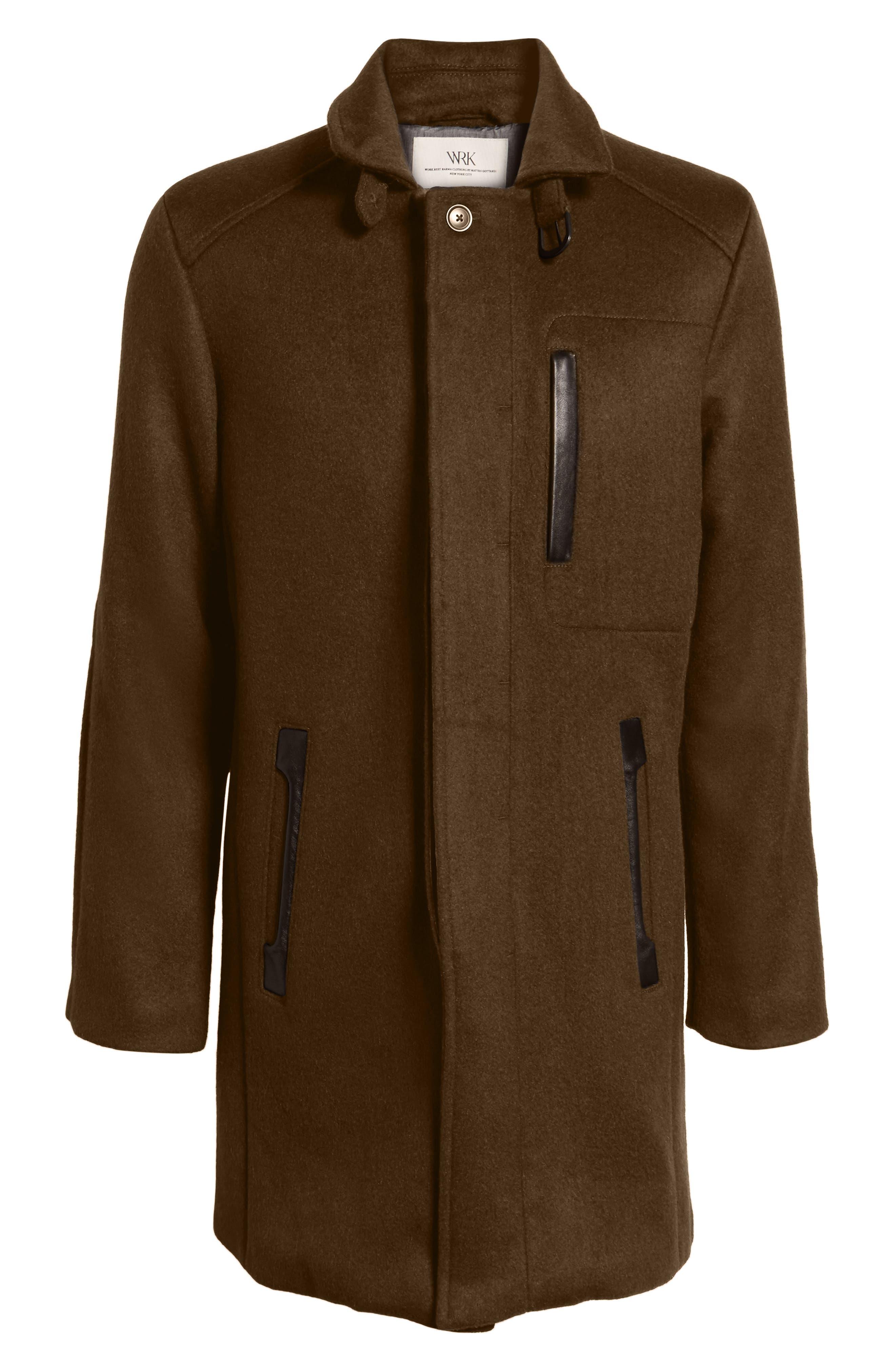 W.R.K,                             Kilo Slim Fit Wool Blend Coat,                             Alternate thumbnail 5, color,                             OLIVE