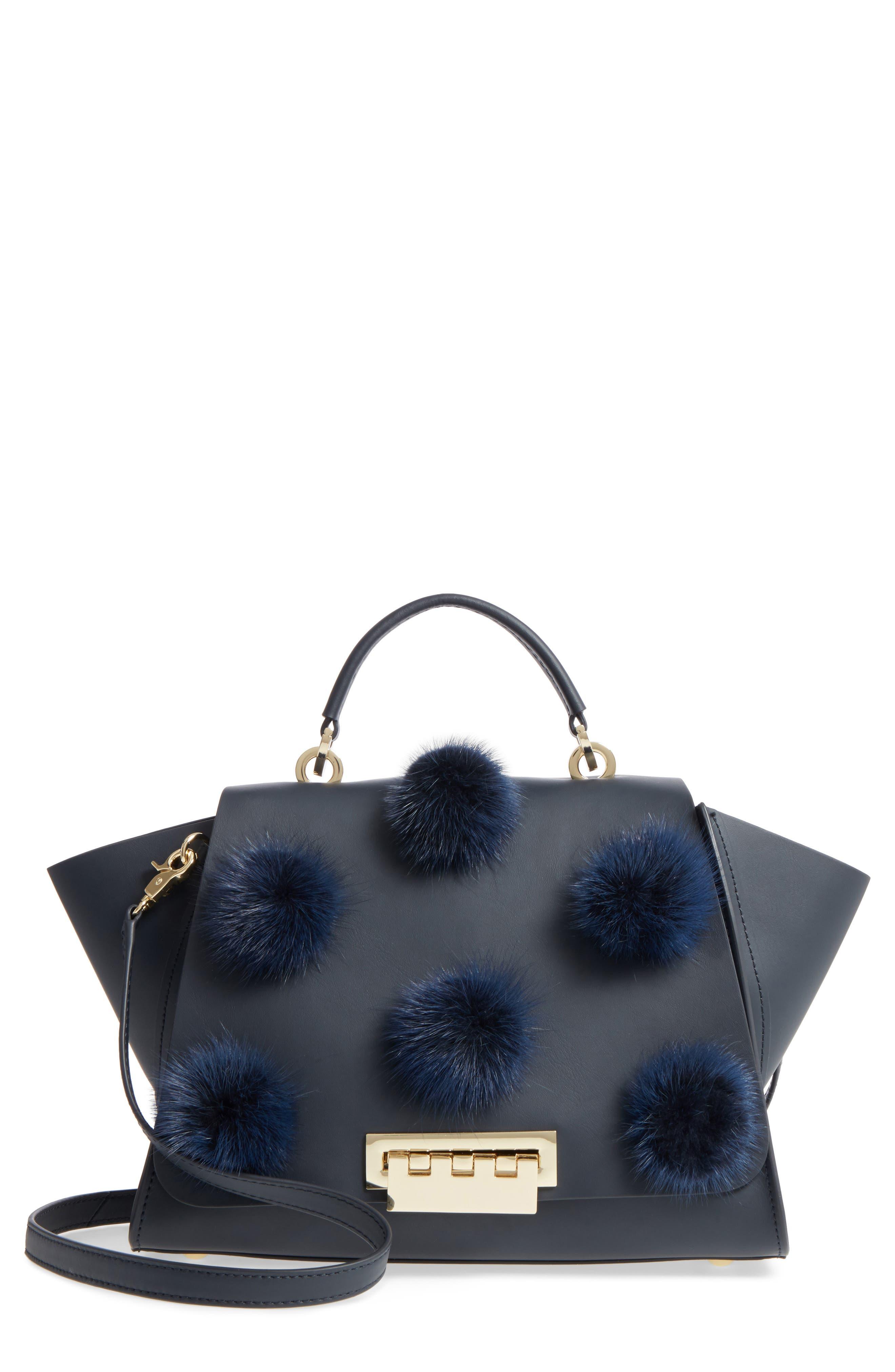 Eartha Iconic Leather & Genuine Mink Fur Satchel,                         Main,                         color, 410