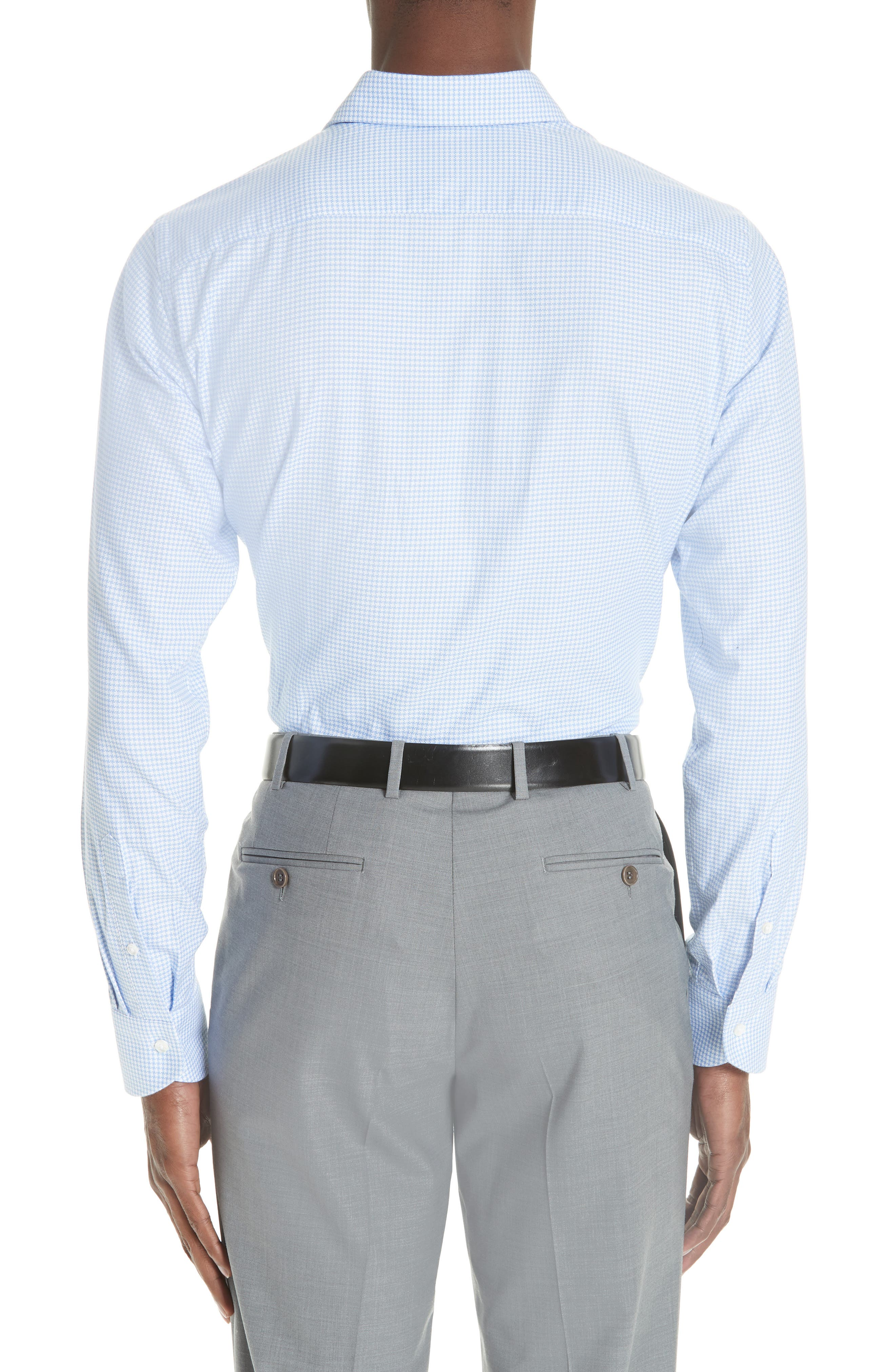 Trim Fit Houndstooth Dress Shirt,                             Alternate thumbnail 3, color,                             LIGHT BLUE