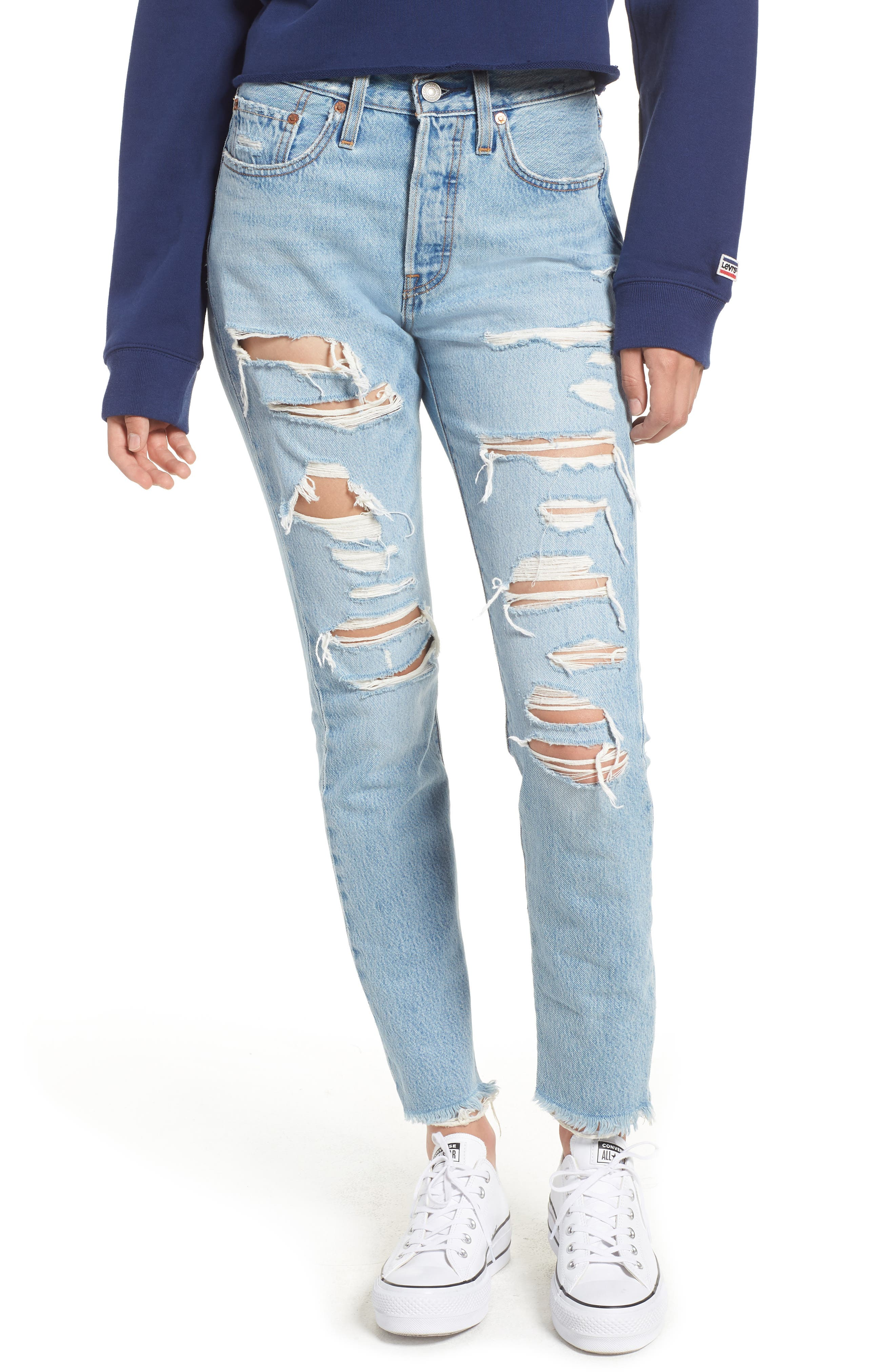 501<sup>®</sup> Ripped High Waist Skinny Jeans,                             Main thumbnail 1, color,                             THRASHED