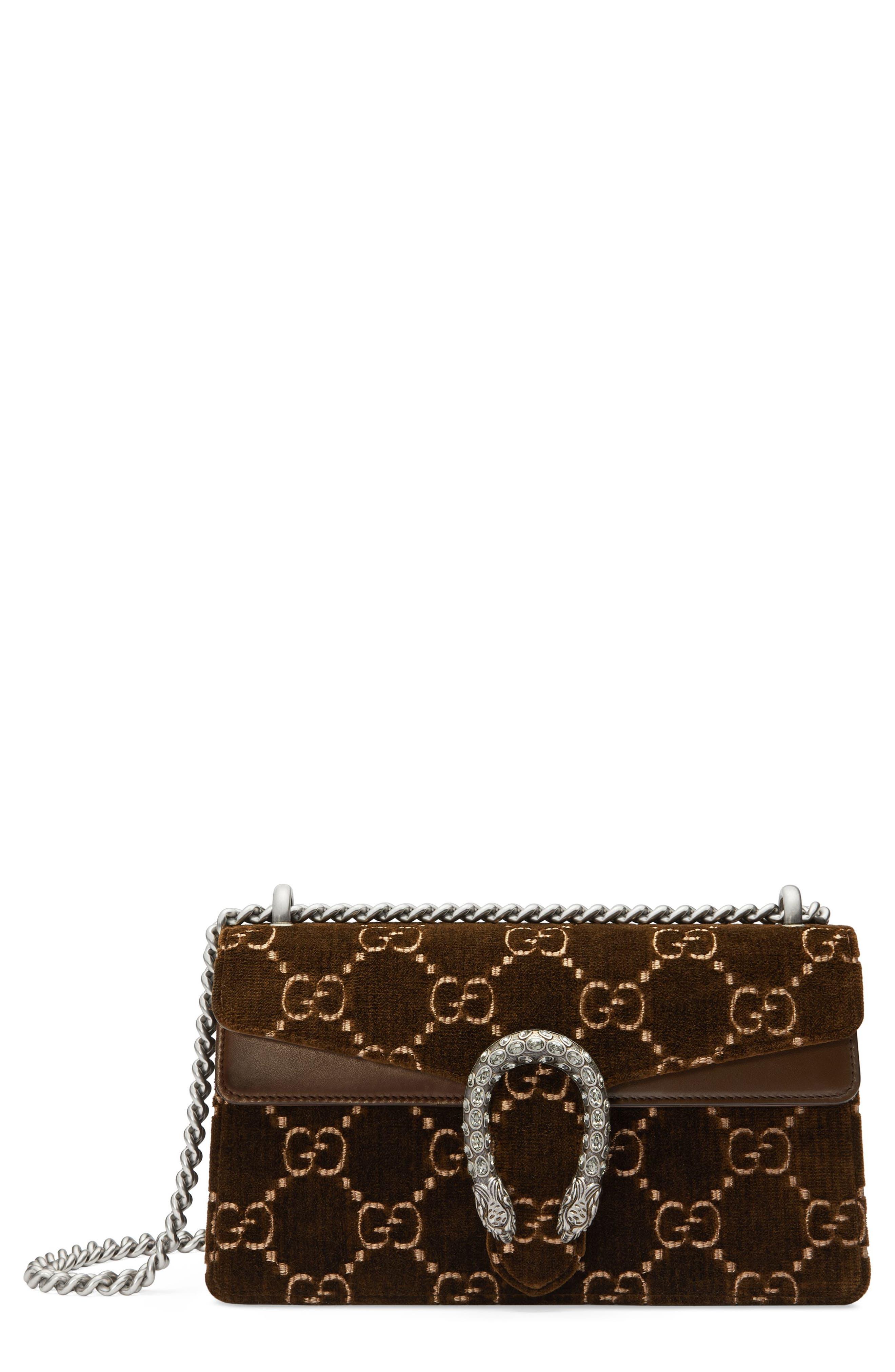 Small Dionysus GG Velvet Shoulder Bag,                             Main thumbnail 1, color,                             BROWN