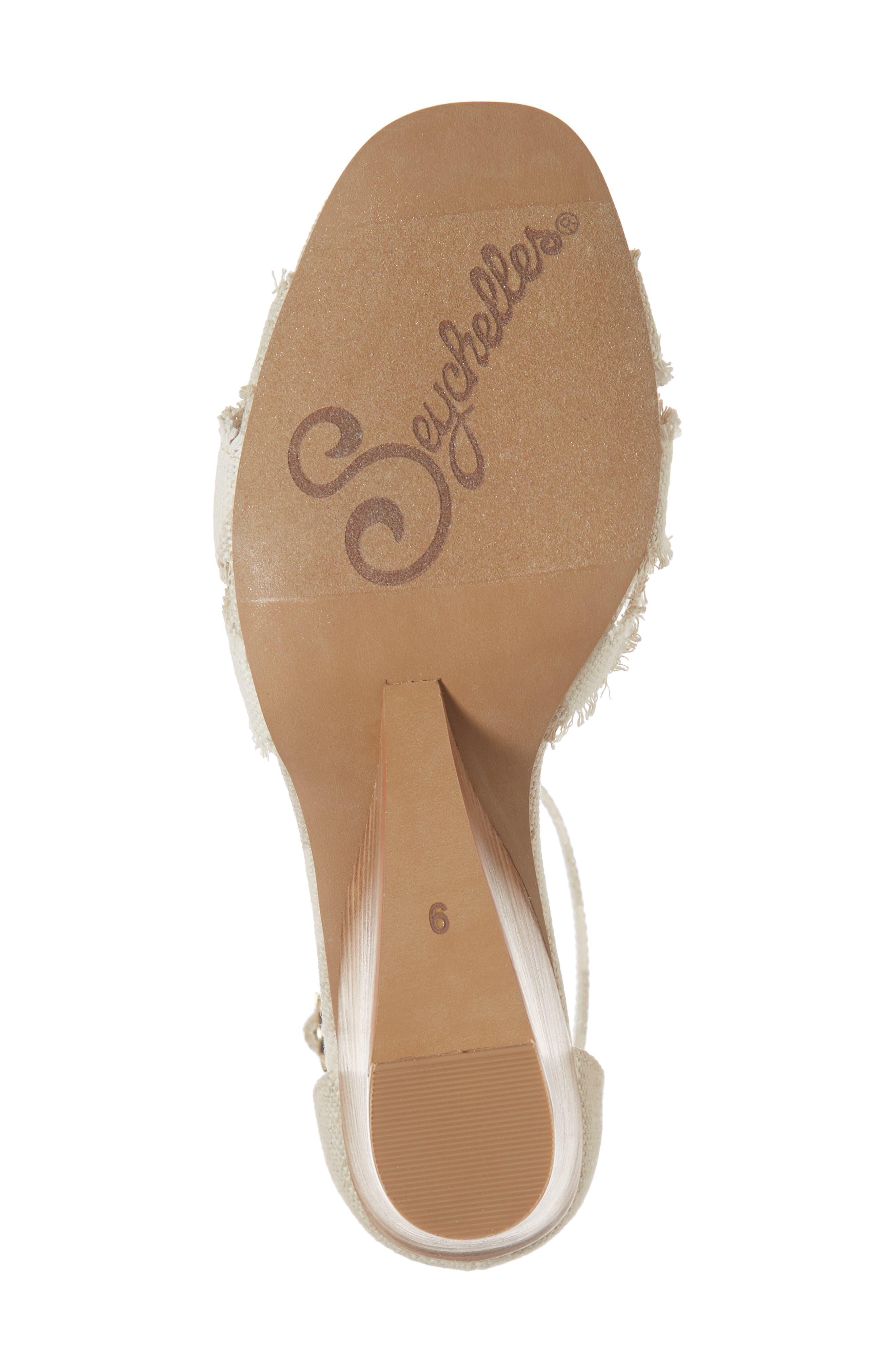 Sunrays Wedge Sandal,                             Alternate thumbnail 6, color,                             NATURAL STRIPE FABRIC
