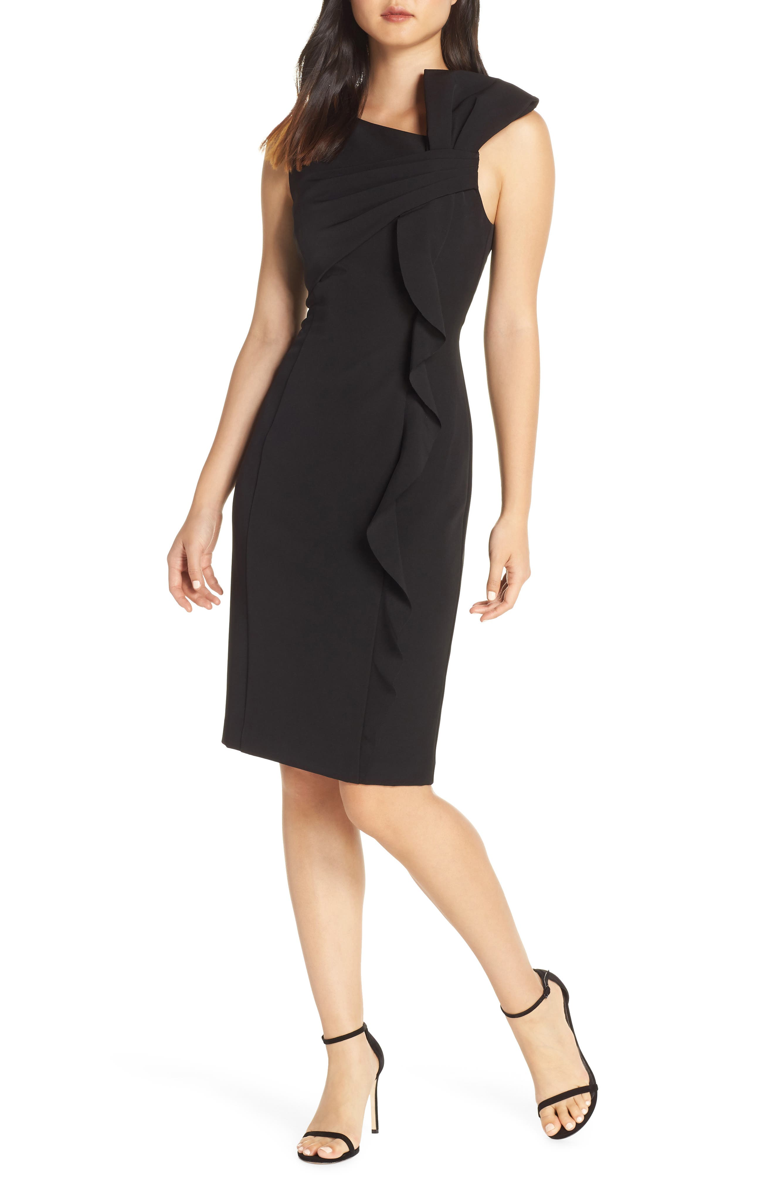 Vince Camuto Desired Stretch Crepe Cocktail Sheath, Black
