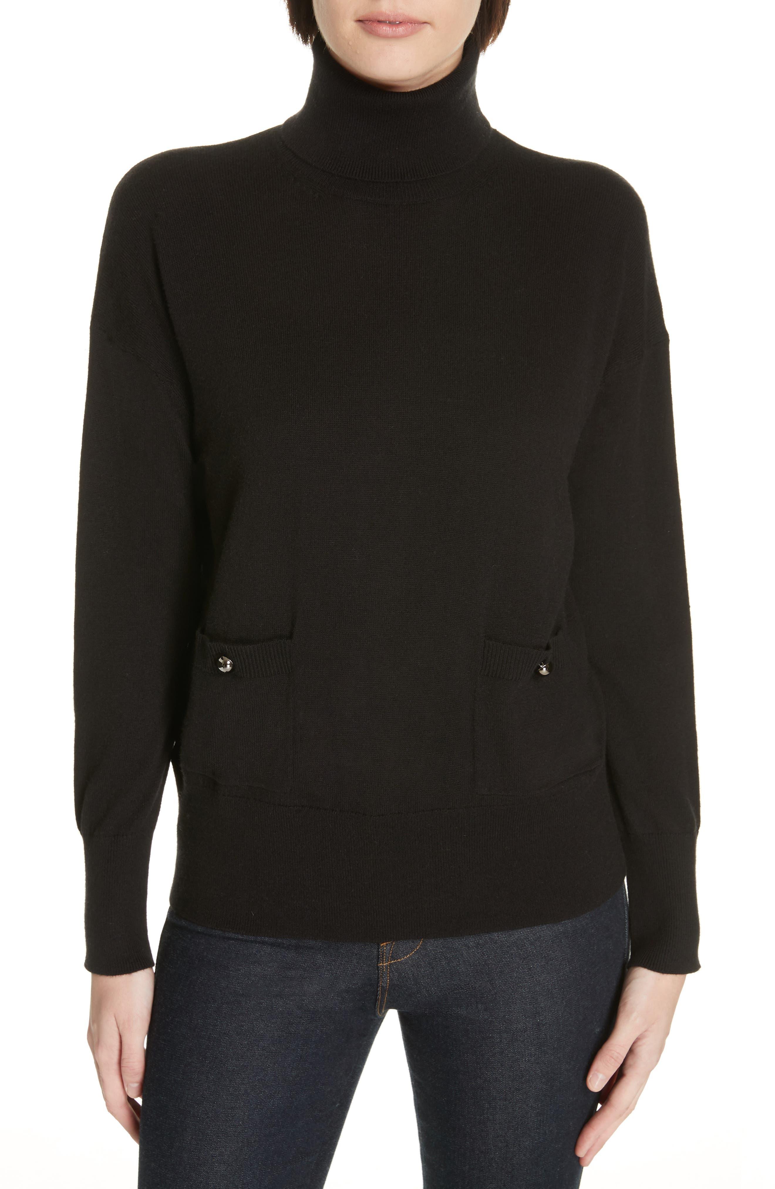 Broome Street Wool-Blend Turtleneck Sweater in Black